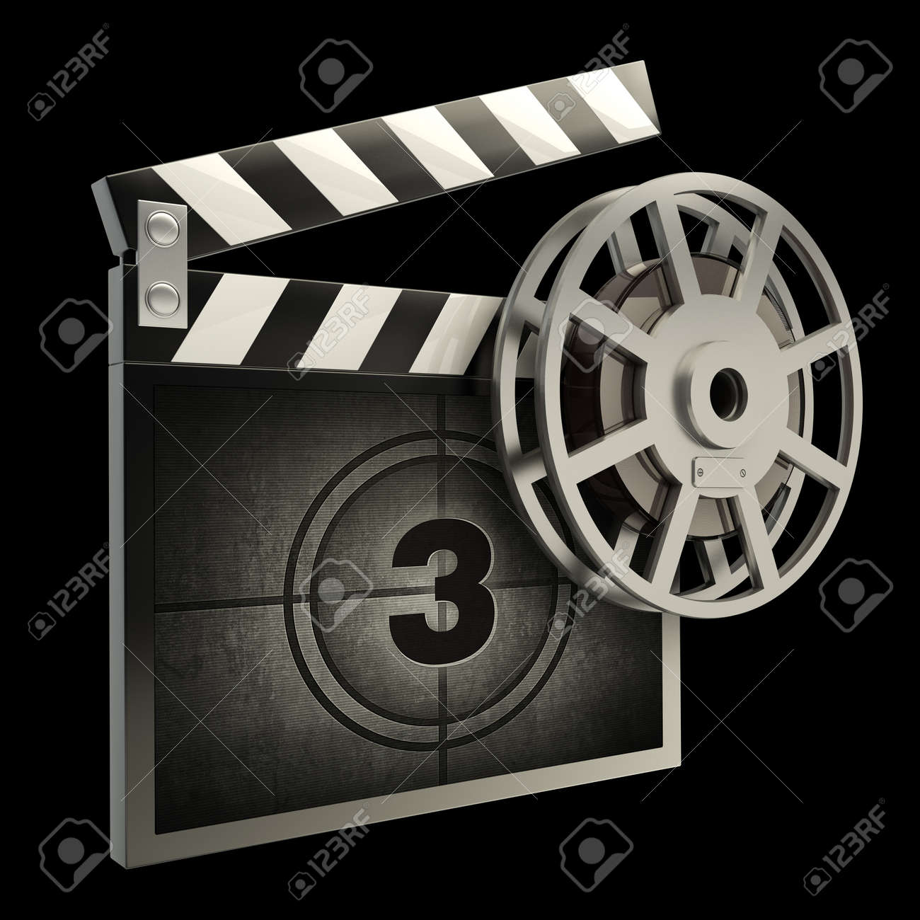 Film and clap board movies symbol closeup isolated on black  High resolution  3D image Stock Photo - 12981849