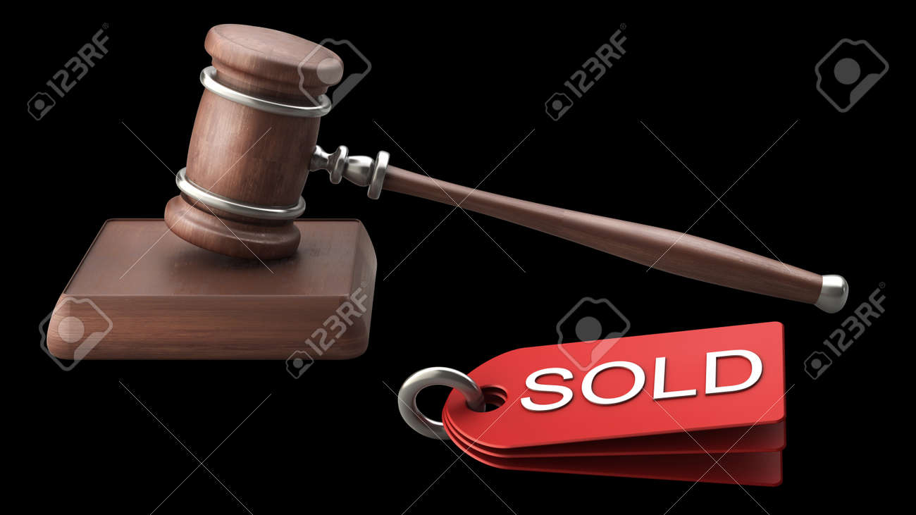 Auction gavel isolated on black background High resolution 3D Stock Photo - 12980173