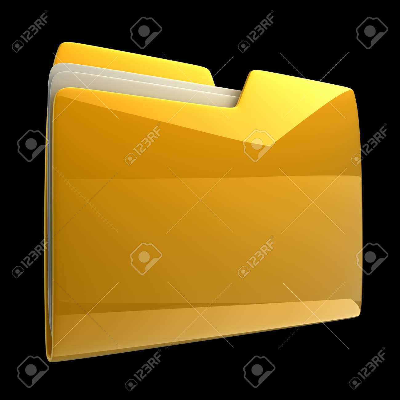 Yellow folder icon isolated on black background High resolution 3D Stock Photo - 12973994