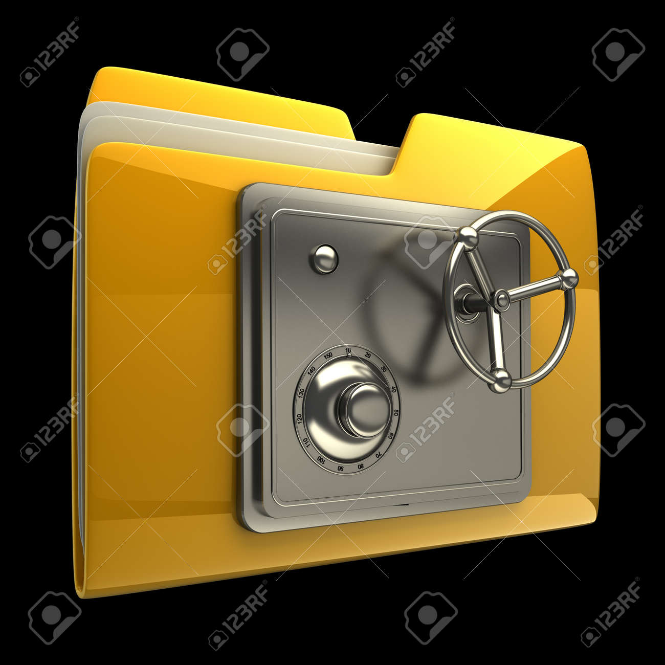 3d illustration of folder icon with security lock dial isolated on black background High resolution 3D Stock Photo - 12980387