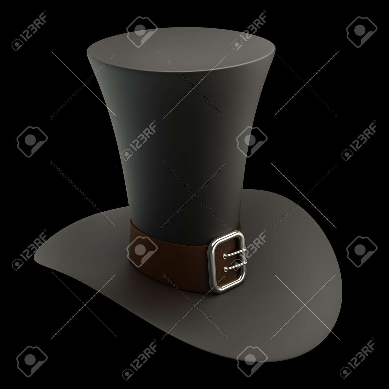 Black top hat with gray strip isolated on black background High resolution 3D Stock Photo - 12980008