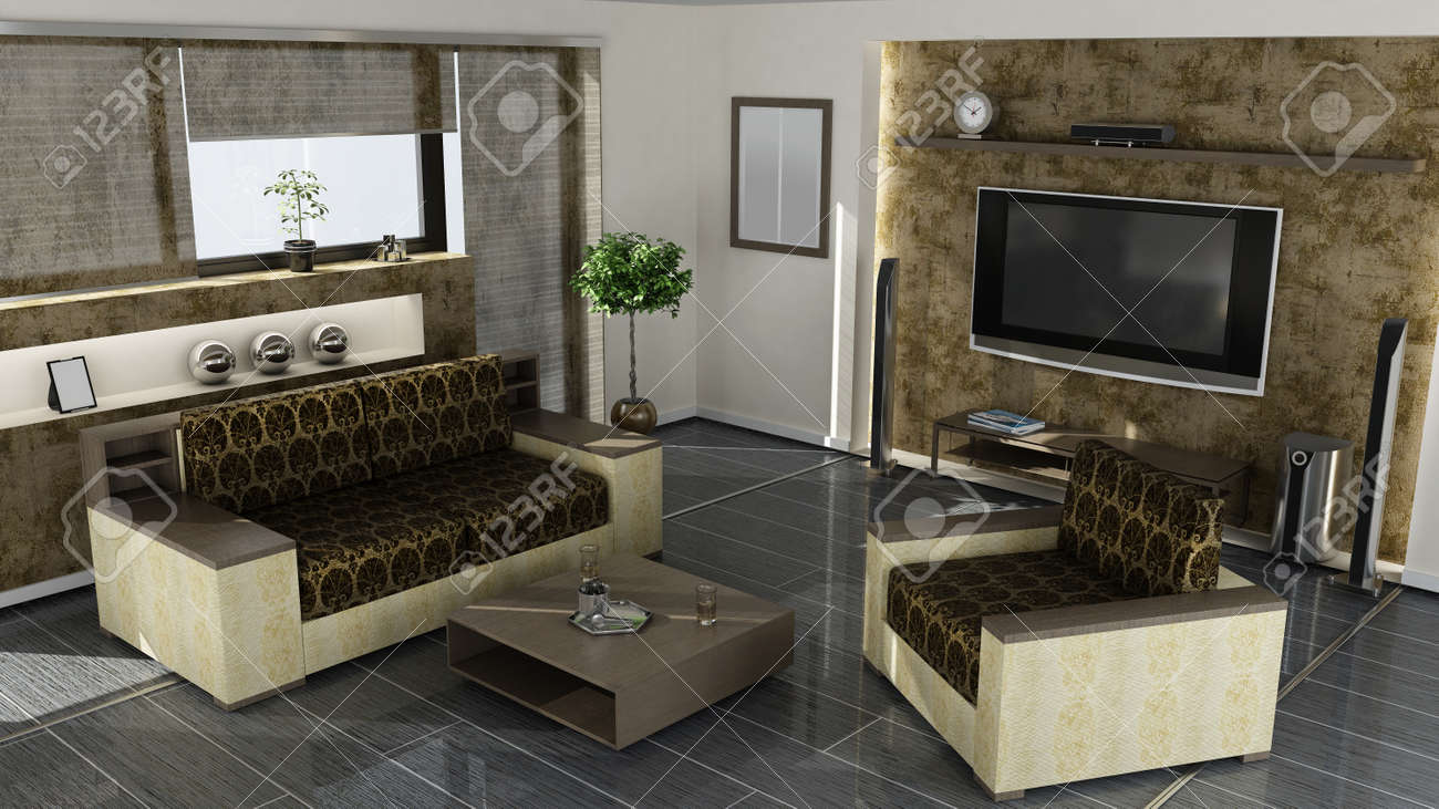 Modern Home Interior 3d Rendering. High Resolution Royalty-Fria ...