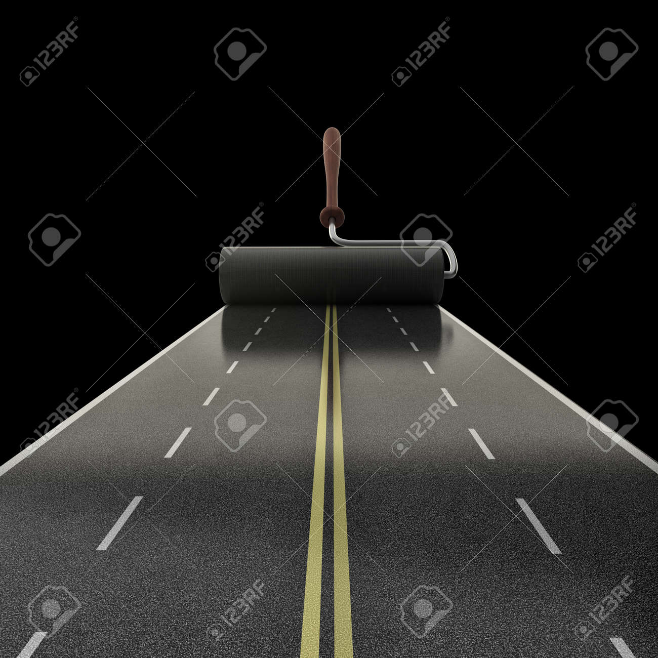 painted road isolated on black background High resolution 3D Stock Photo - 14431730