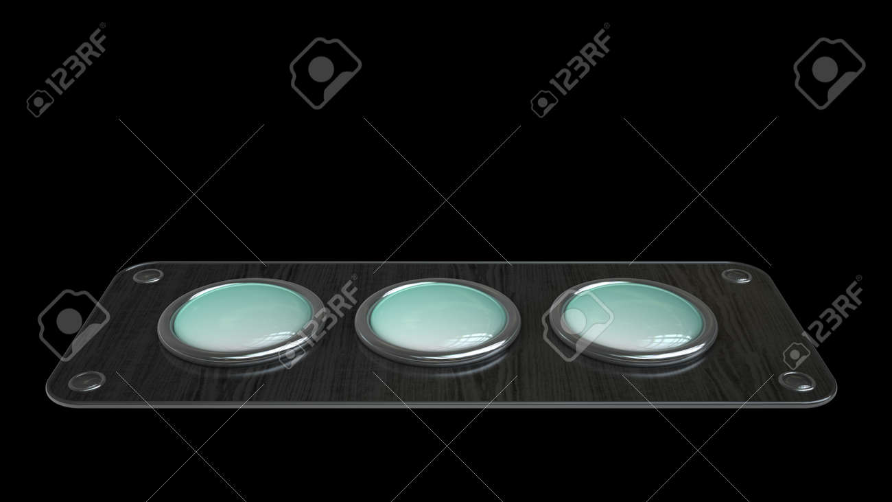 three empty vintage button on wooden board isolated over black background. High resolution 3d render Stock Photo - 18719791
