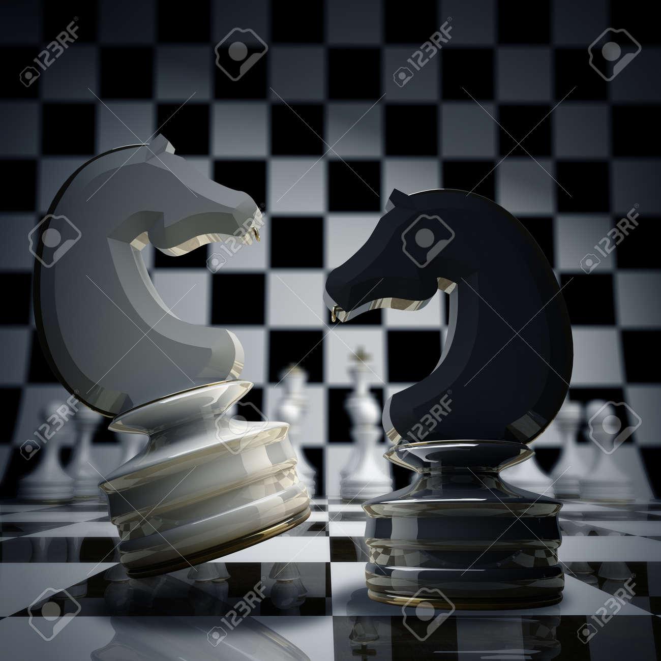 Black vs wihte chess horse background 3d illustration. high resolution Stock Illustration - 18720070