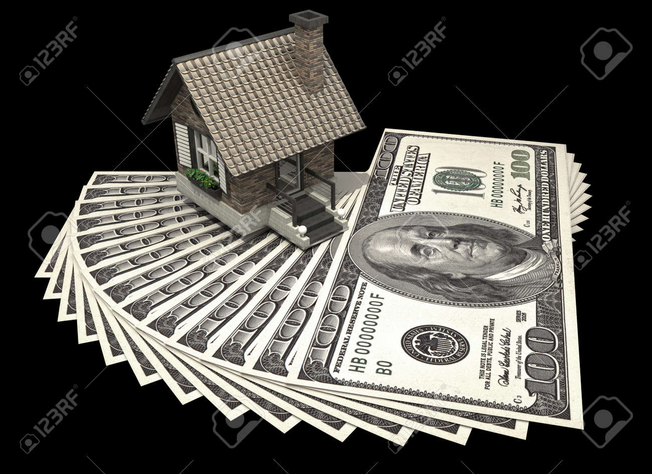 concept house and dollars isolated on black background 3d High resolution Stock Photo - 18720715