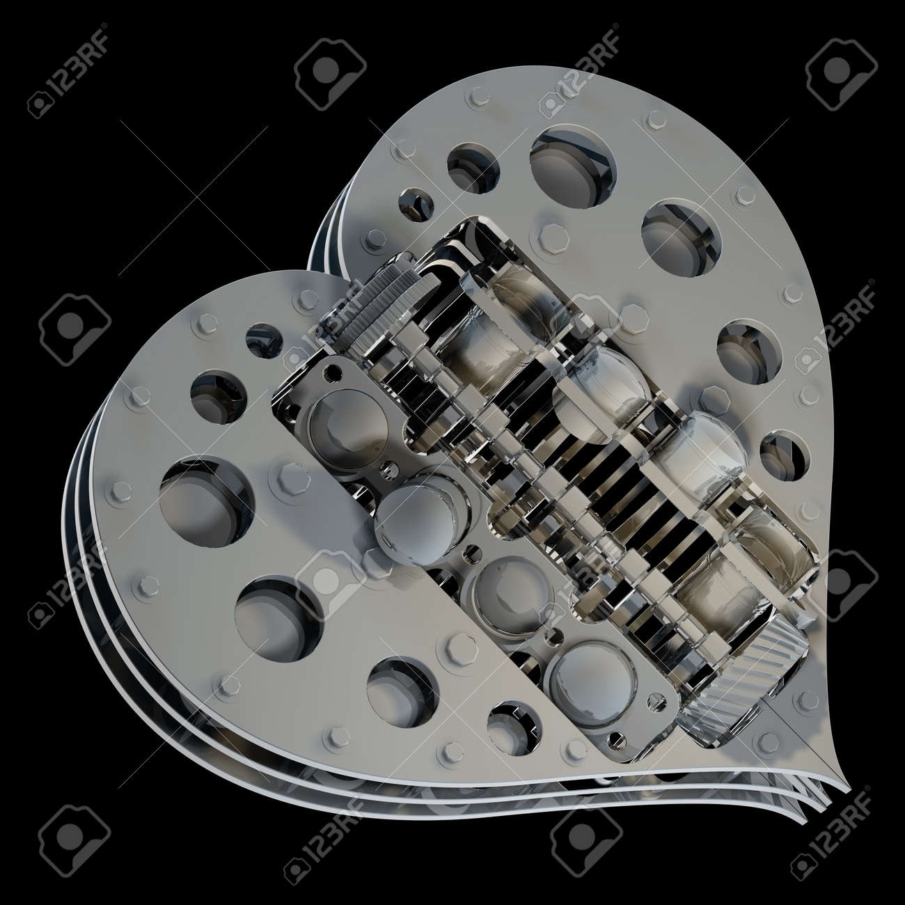 concept Mechanical heart V8 isolated on black background 3d render Stock Photo - 18759447