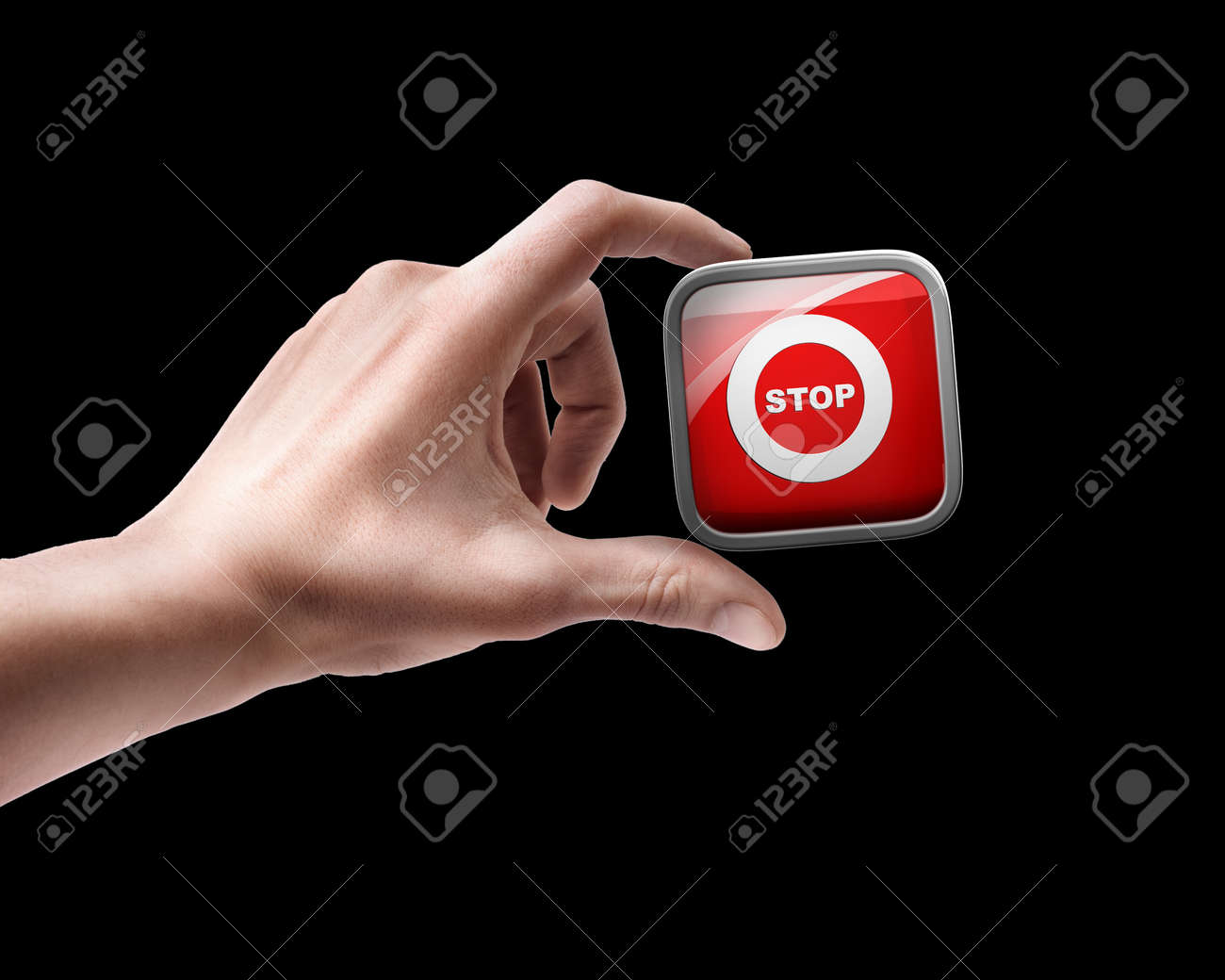 Man's hand holding FAQ APPS icons isolated on black background Stock Photo - 18759273