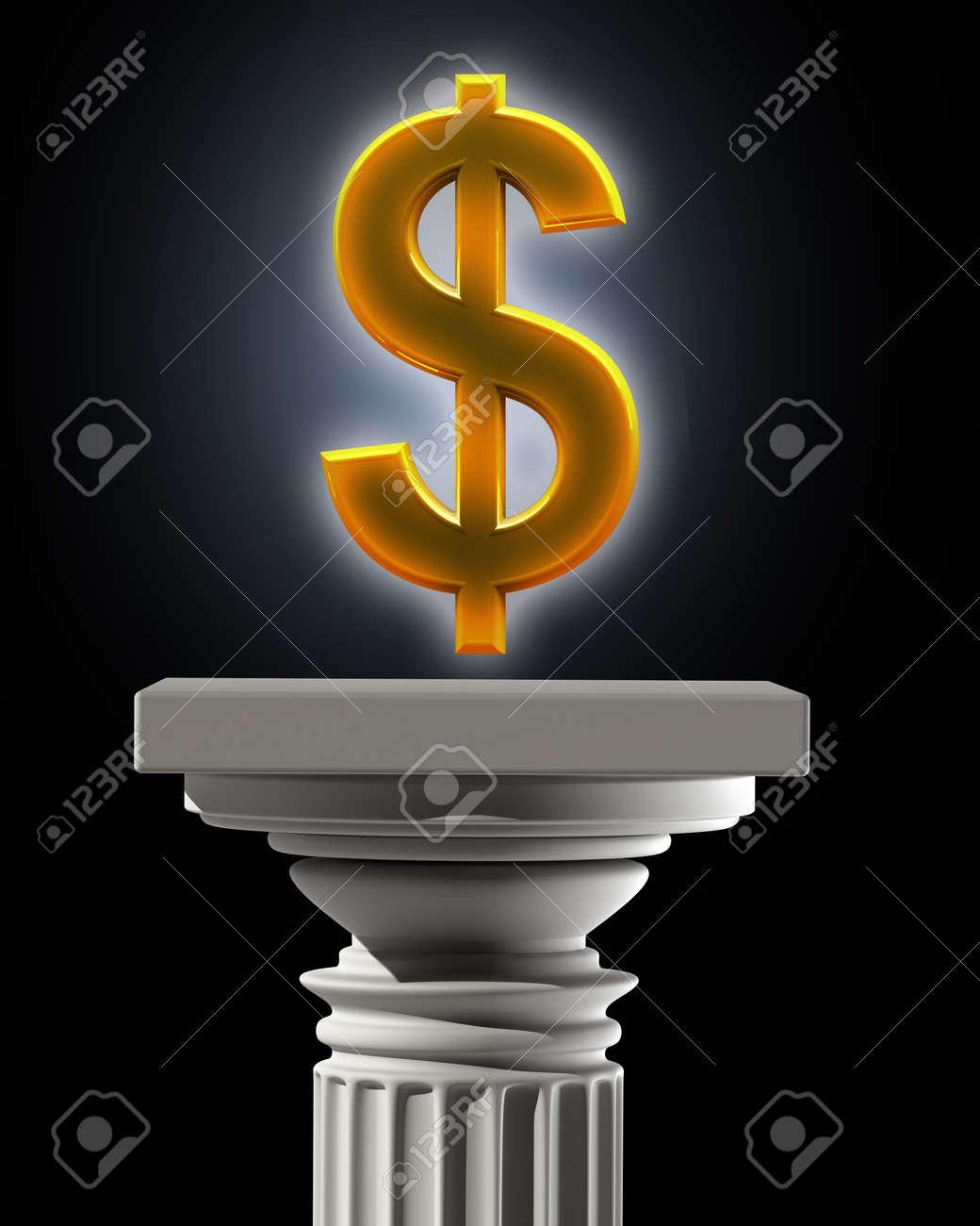 Column Pedestal With Us Dollar Symbol High Resolution 3d Stock Photo
