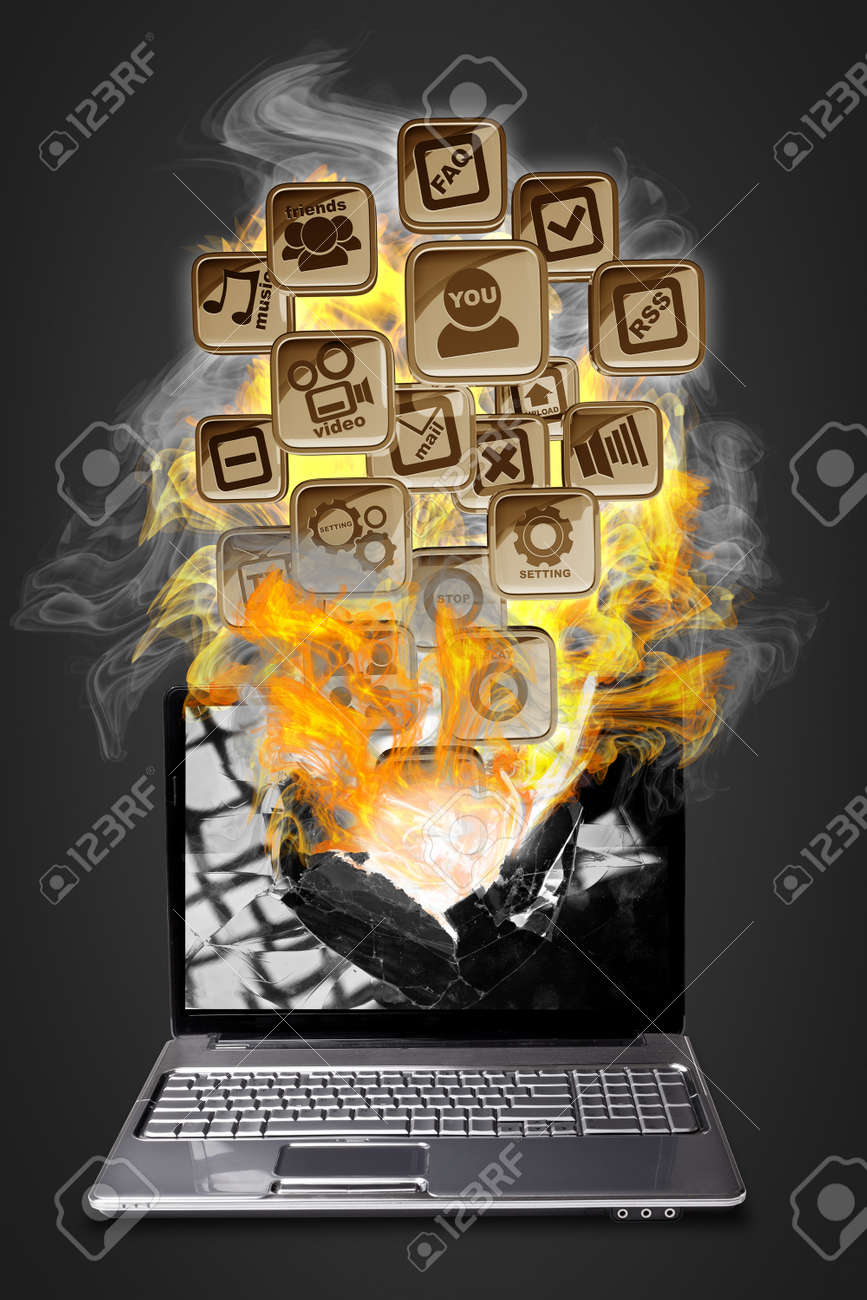 Computer mobility. laptop with fire application icons isolated on black background High resolution 3d render Stock Photo - 18759669