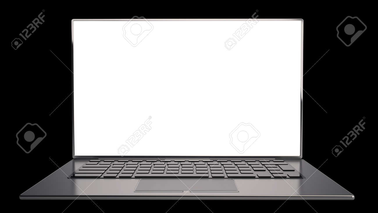 thin laptop with screen isolated on black background high resolution