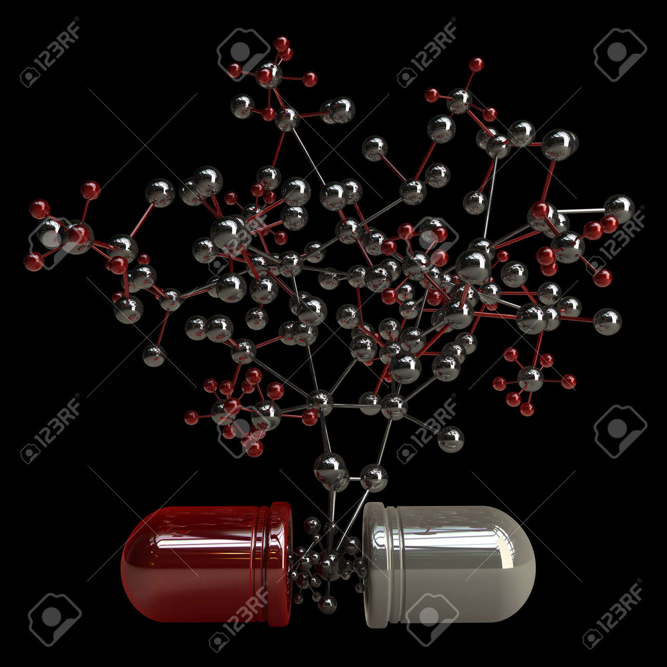 3d concept. pill with molecule structure isolated on black background high resolution illustration Stock Illustration - 18759531