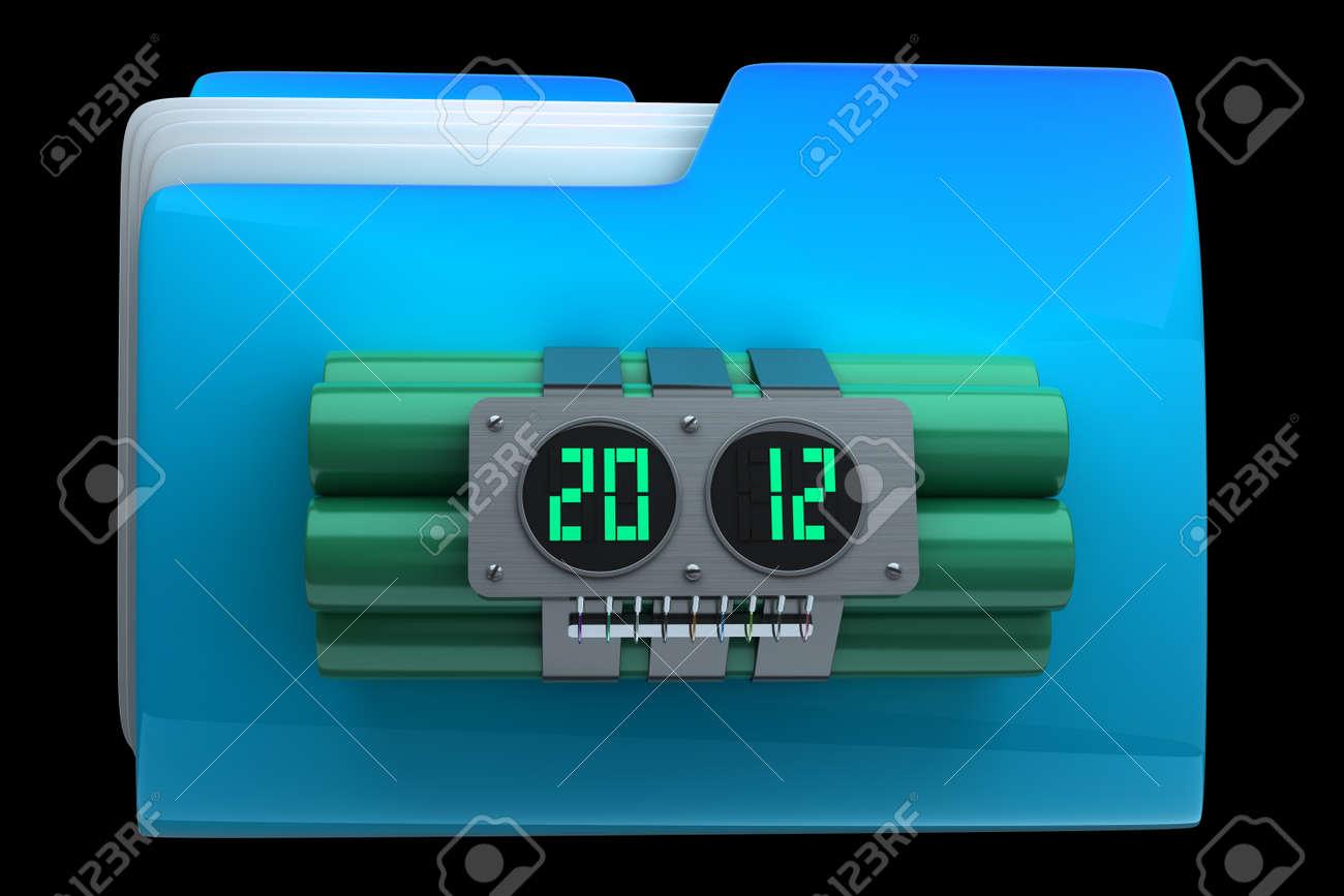 folder with Explosives alarm clock High resolution 3D Stock Photo - 18772846