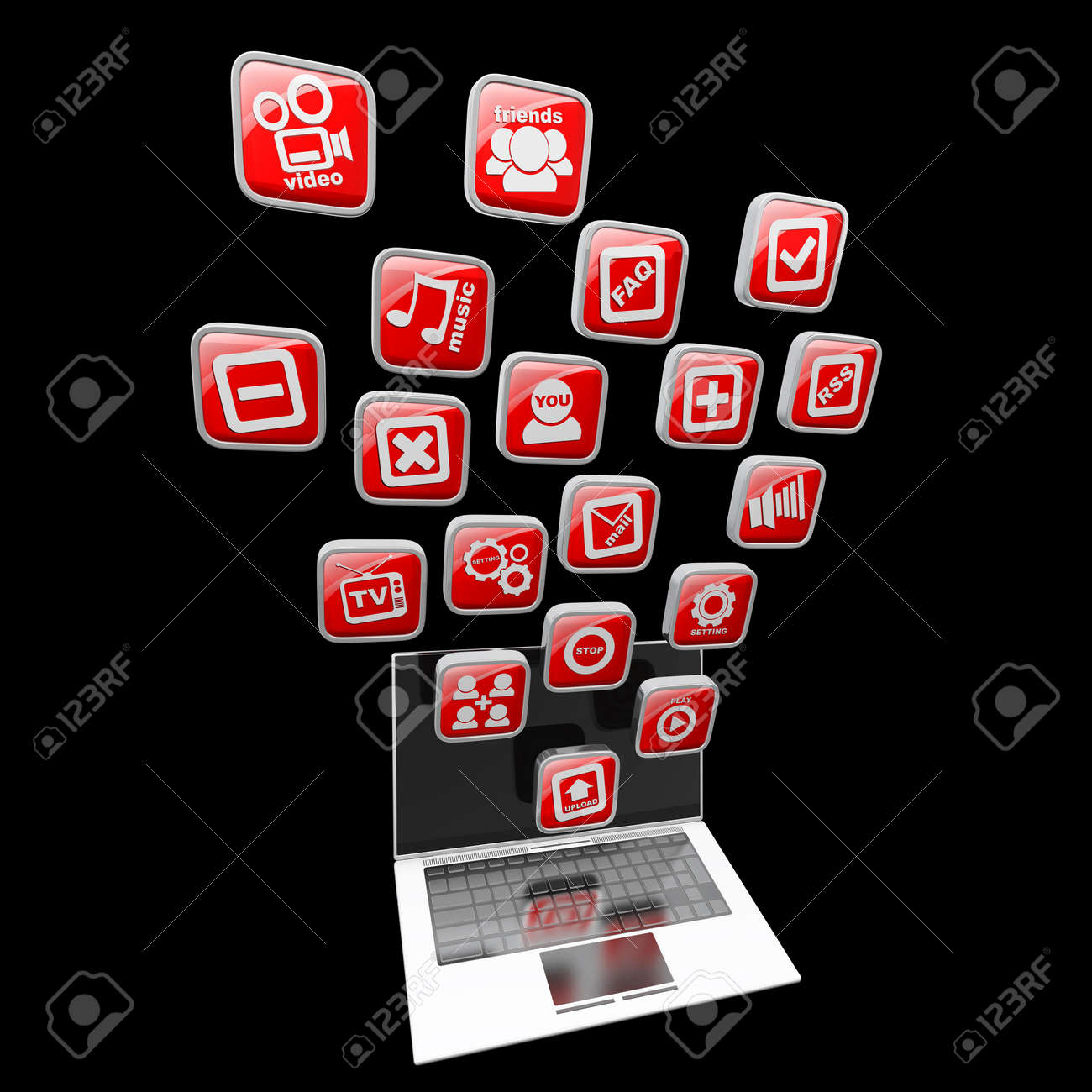 Computer mobility. laptop with color application icons isolated on black background High resolution 3d render Stock Photo - 18772785