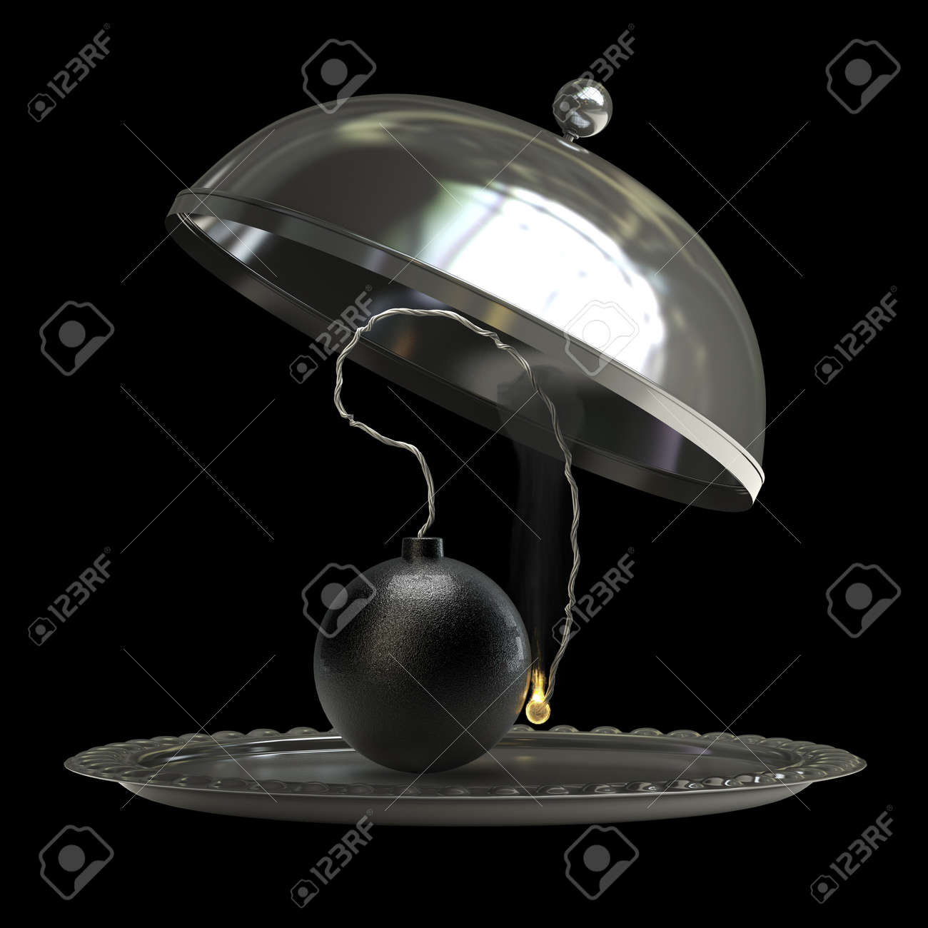 open empty metal silver platter or cloche with Cannonball bomb isolated on black background 3d render Stock Photo - 18772909