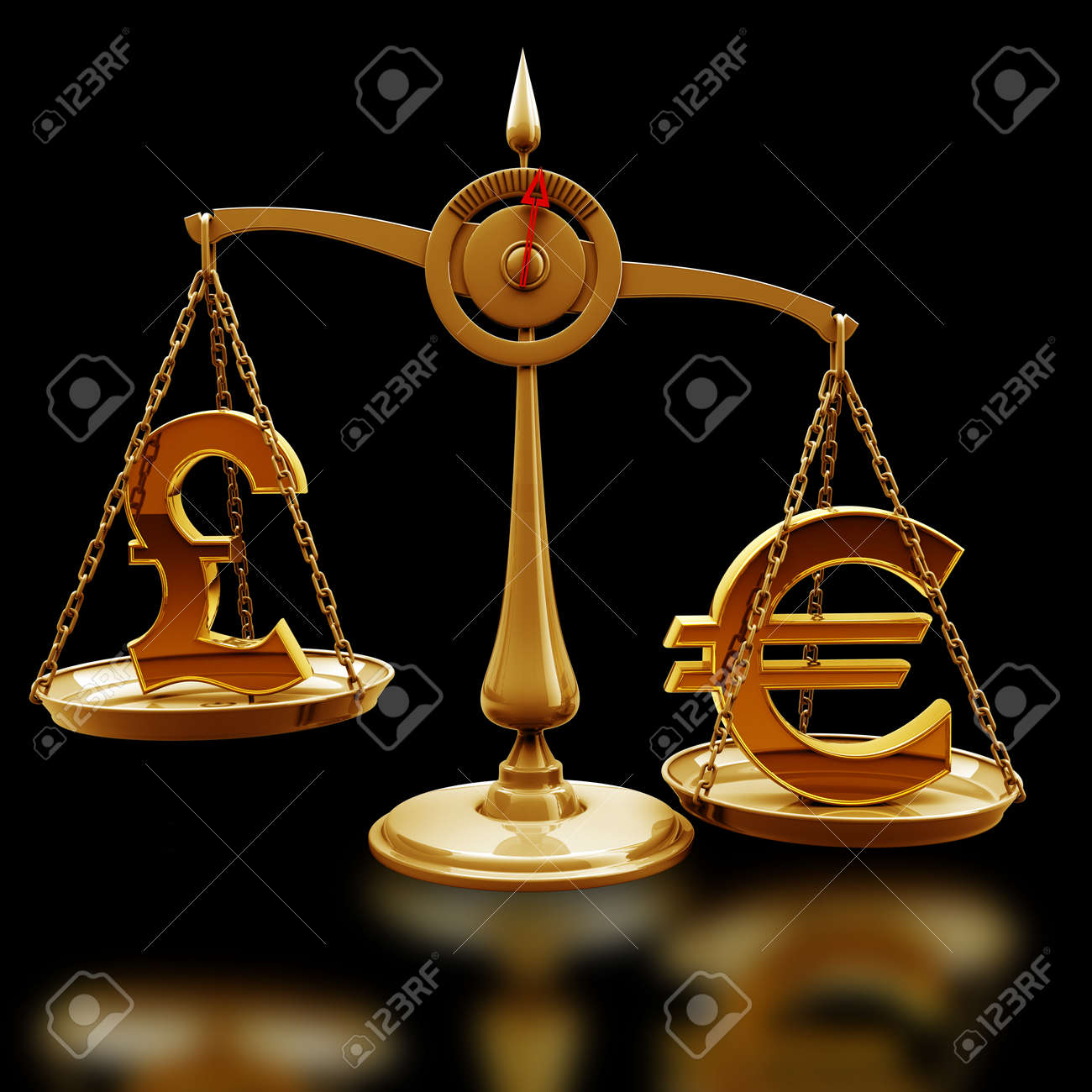 Golden scale with symbols of currencies euro vs british pound golden scale with symbols of currencies euro vs british pound isolated on black background high resolution biocorpaavc Images