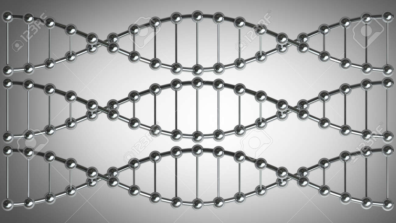 Model Of Twisted Chrome Metal DNA Chain High Resolution 3d Render ...