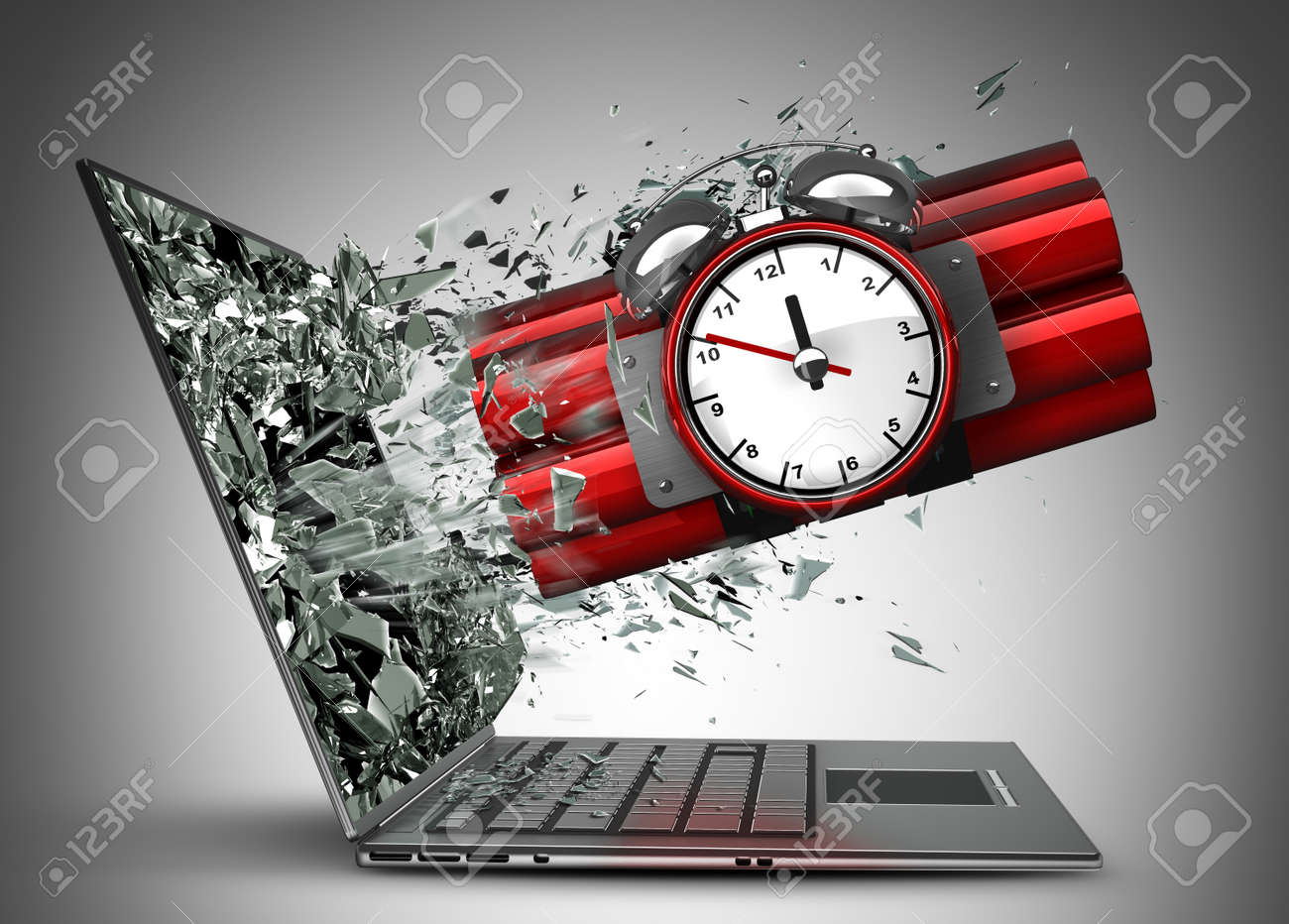 Bomb with clock timer exit by a monitor of laptop screen  High resolution 3d Stock Photo - 22253055