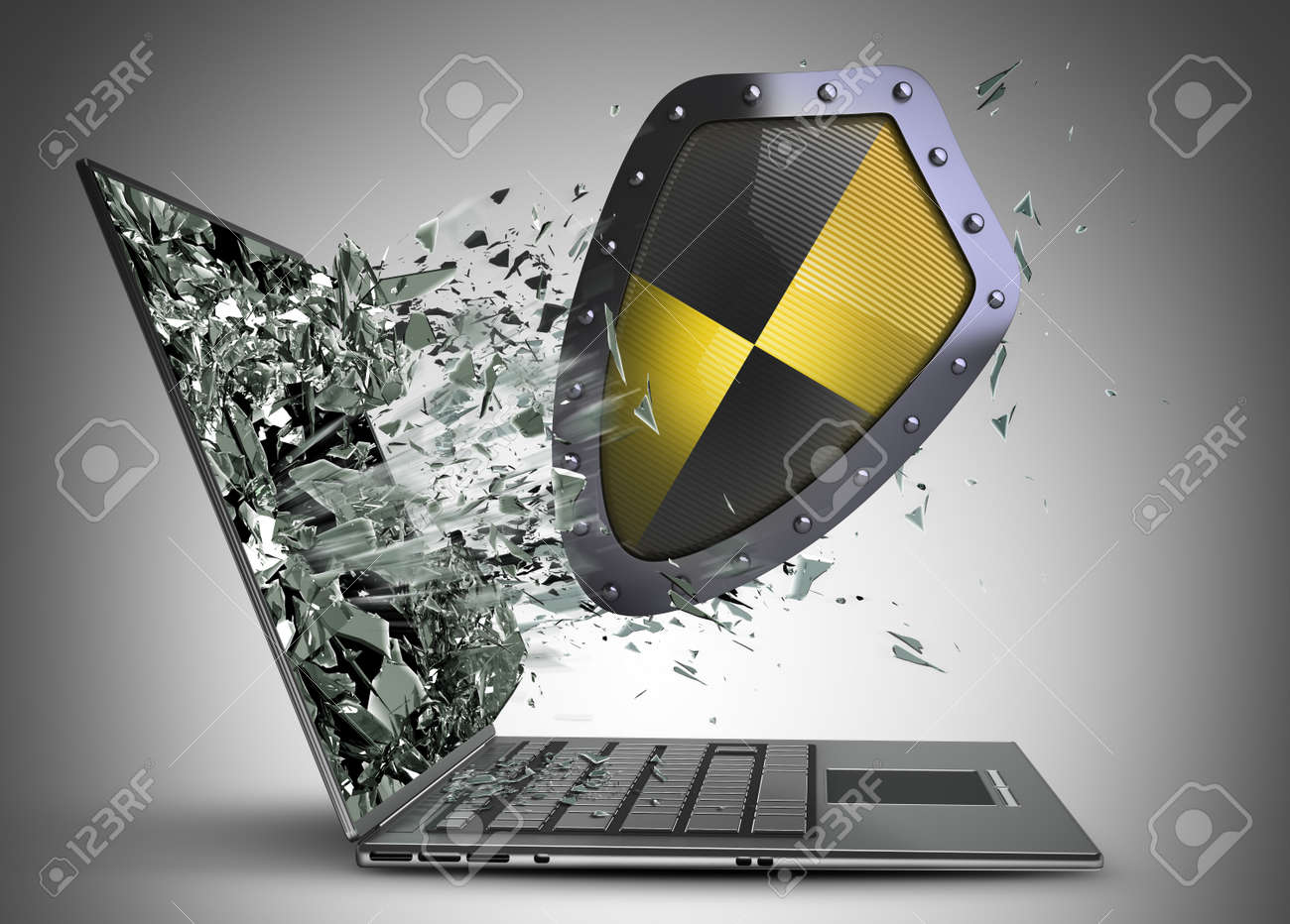 shield exit by a monitor of laptop screen high resolution 3d stock