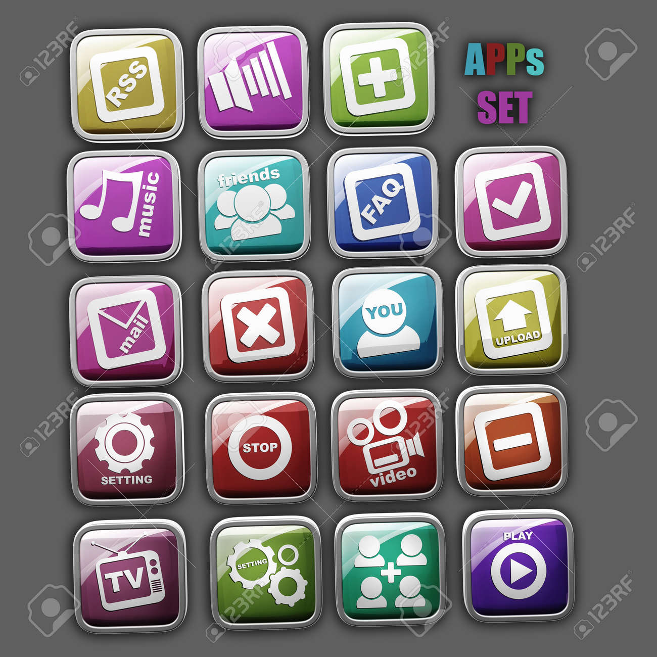 APPS set icons isolated High resolution 3d render Stock Photo - 22212208