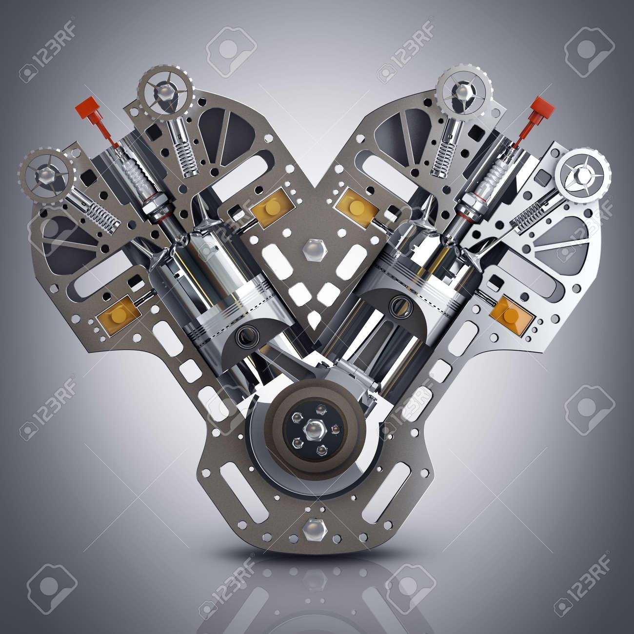 V8 Auto Motor. Konzept Des Modernen Automotor. Hohe Auflösung 3d ...