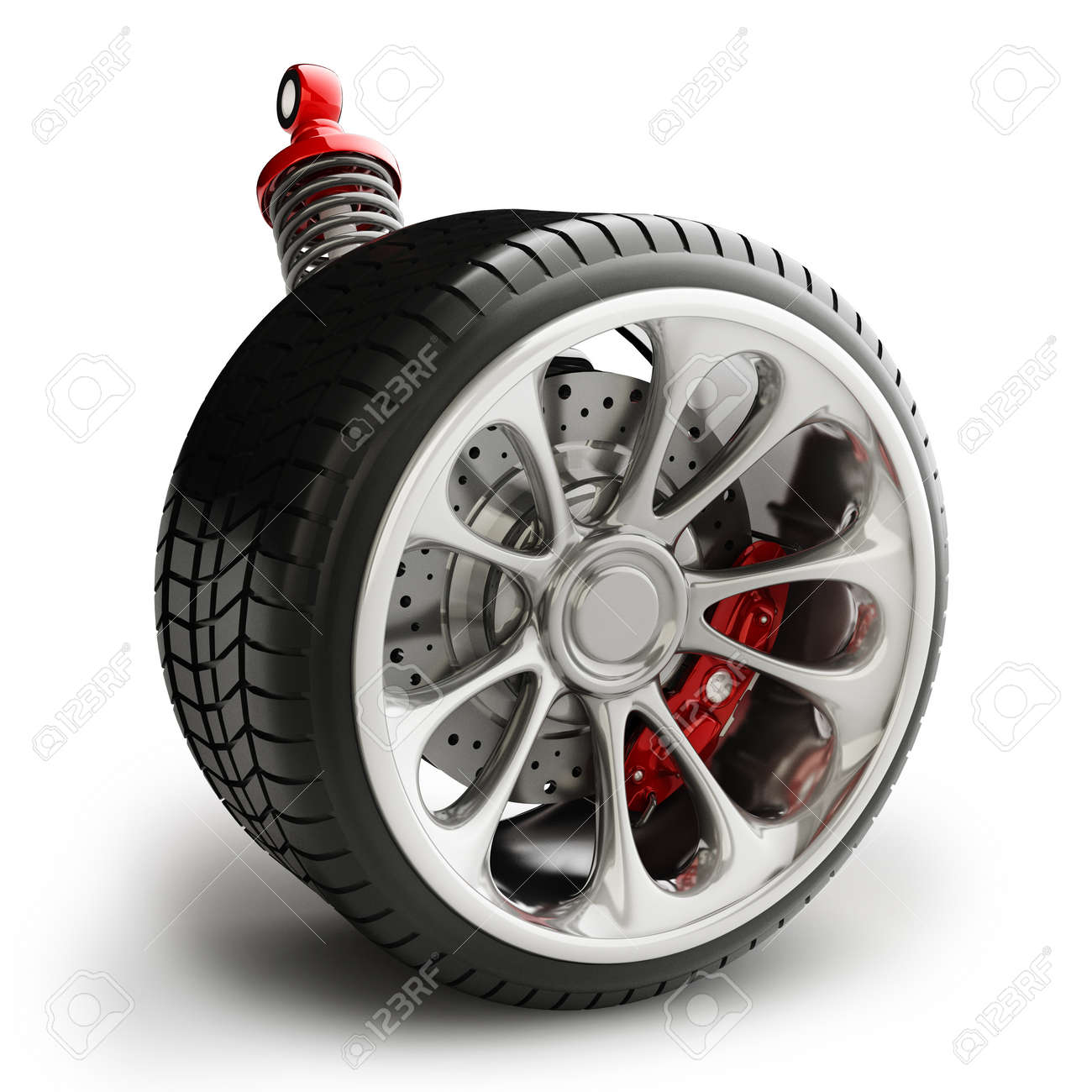 Wheel, shock absorber and brake pads isolated on white background High resolution 3d Stock Photo - 24067468