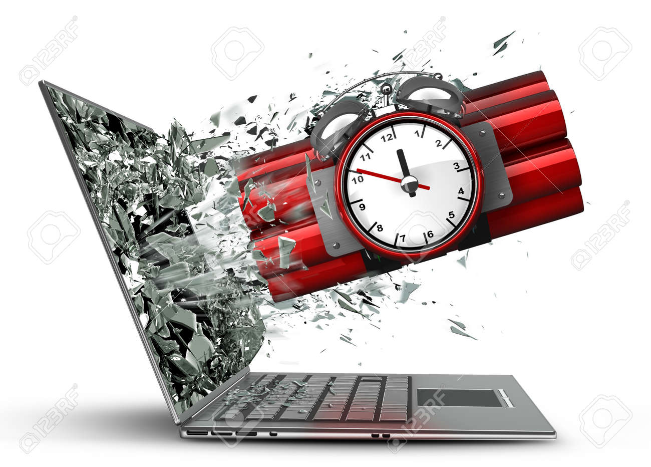 bomb with clock timer exit by a monitor of laptop screen isolated