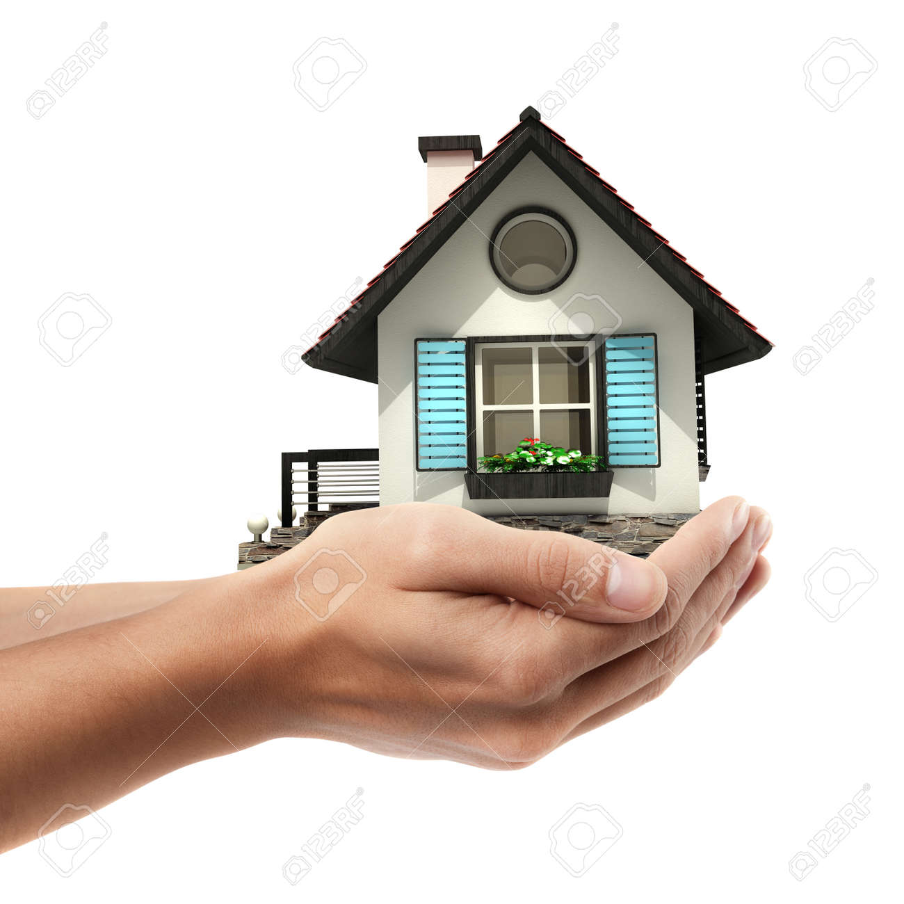 Closeup. Man's hand holding house  isolated on white background. High resolution Stock Photo - 24082213