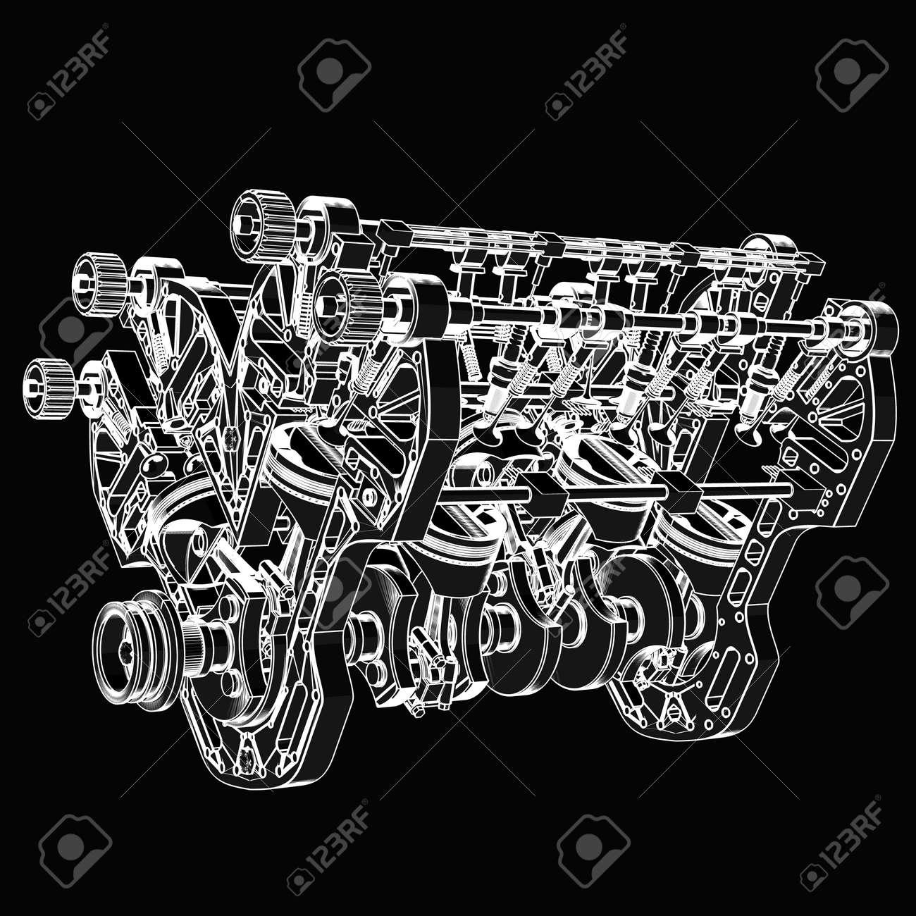 V8 Car Engine. Black Cartoon Illustration Outline. High Resolution ...