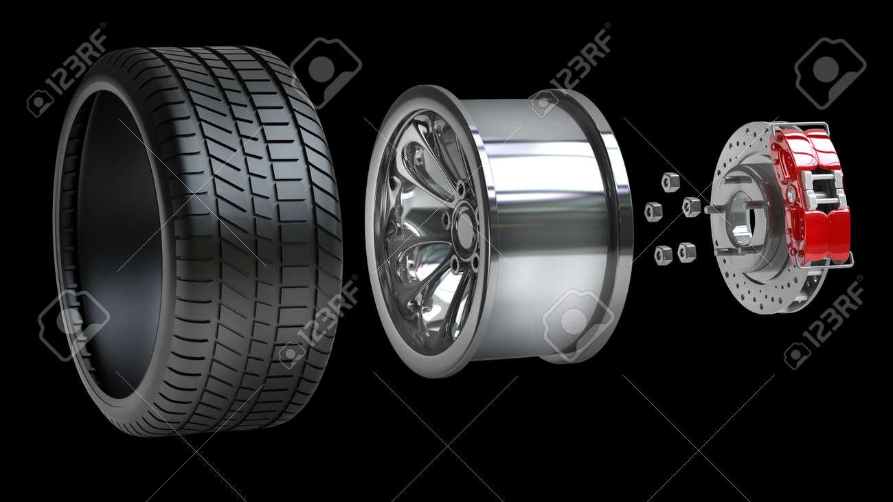 Wielen Velgen Remblokken En Schijven Auto Onderdelen Geïsoleerd Op Zwarte Achtergrond Hoge Resolutie 3d Render