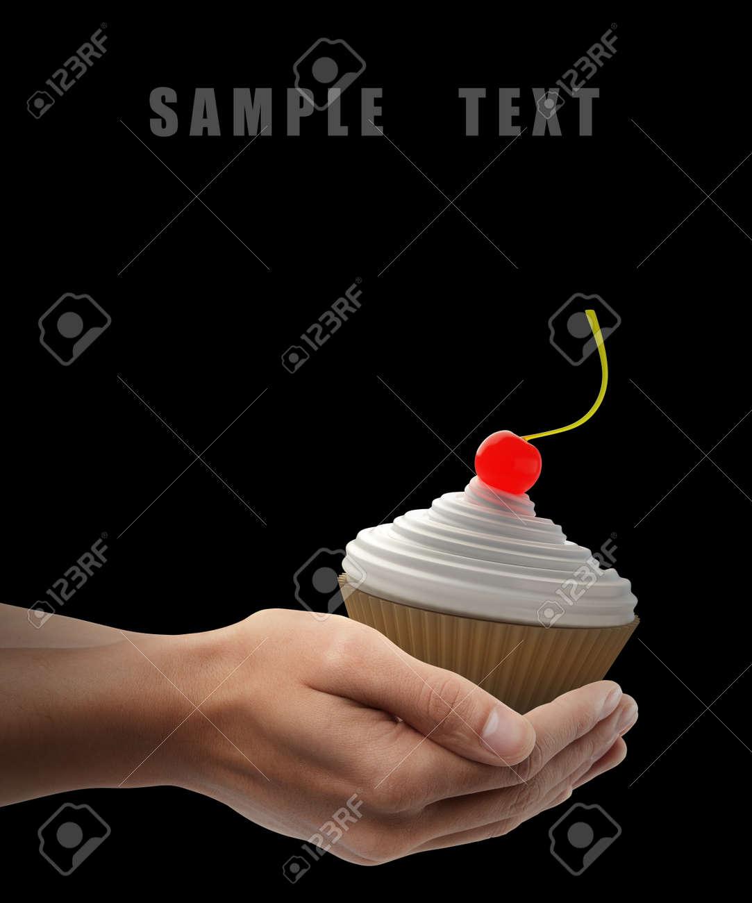 Nahaufnahme Man Hand Halt Becher Kuchen Mit Creme Fraiche Auf