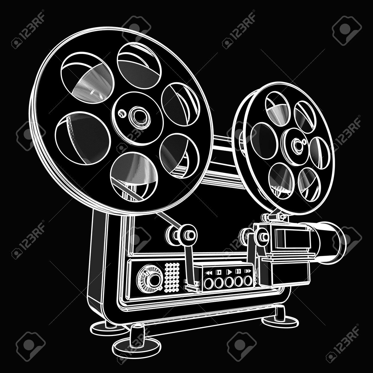 Old Fashioned Cinema Projector Black Cartoon Illustration Outline