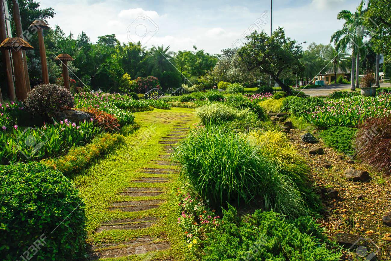 Schöner Garten Mit Weg Windet Sich Durch Standard Bild   60386909