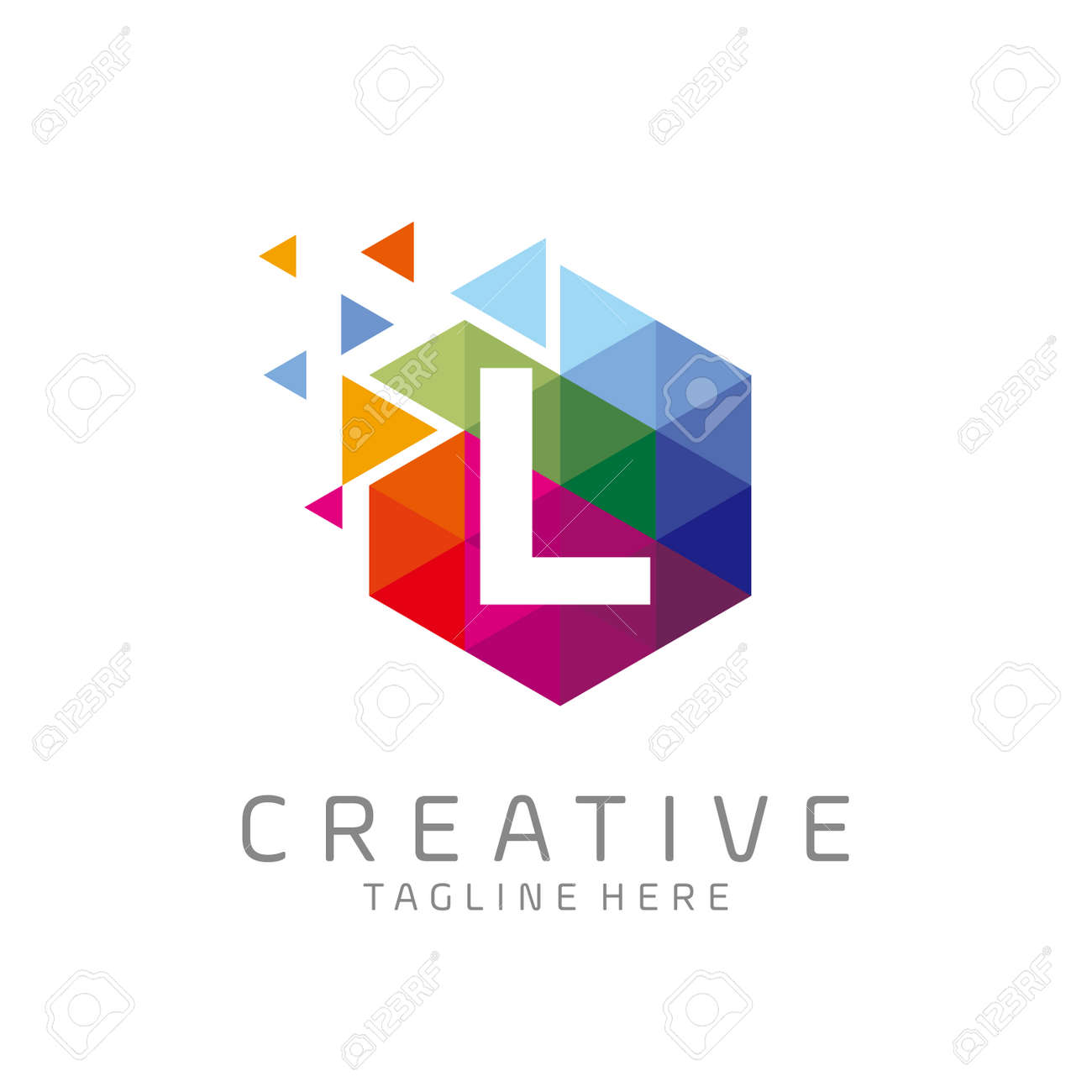 colorful letter L tech logo design vector with hexagon and pixel motion concept. multimedia, digital, technology, innovation symbol icon - 148128089
