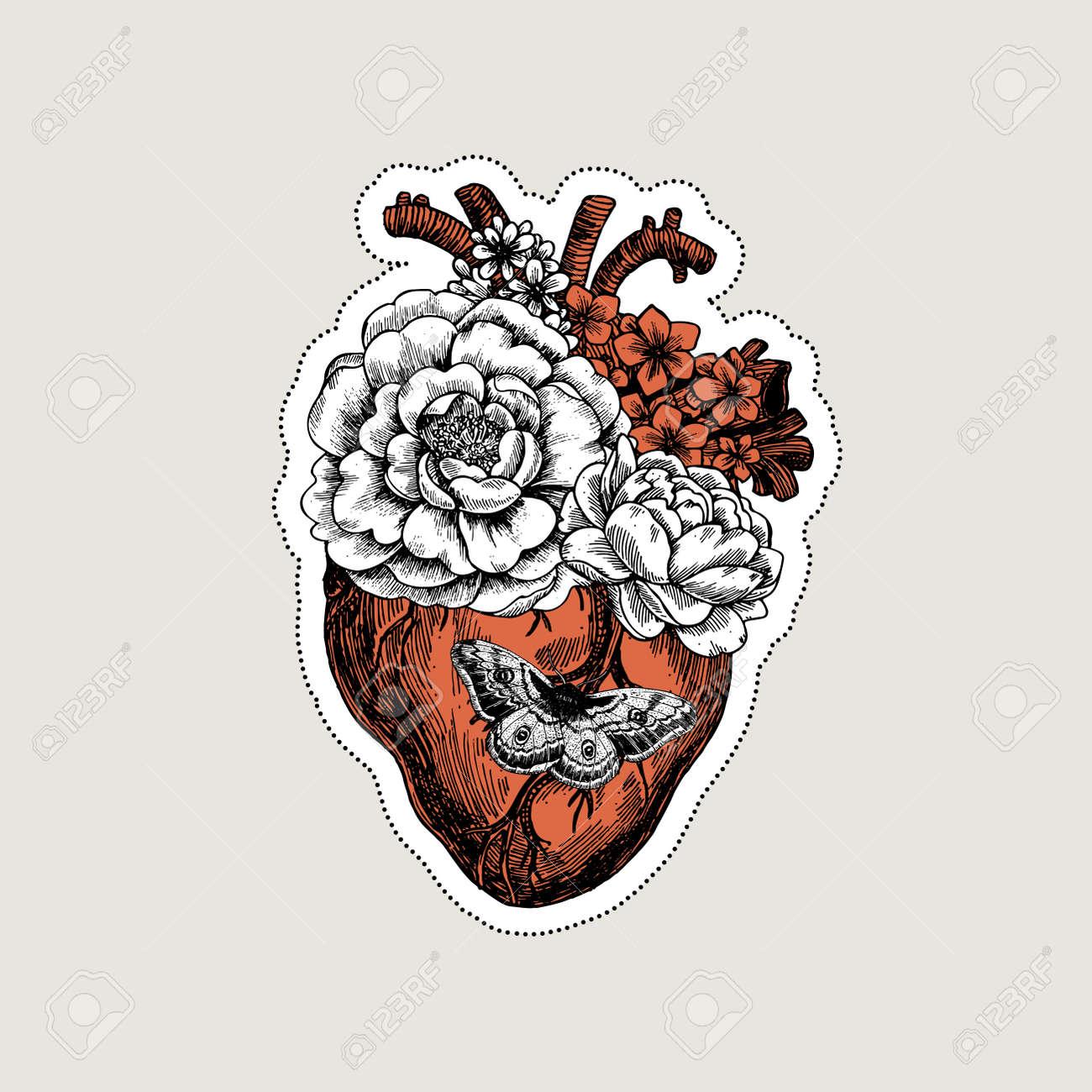 Tätowierung Anatomie Vintage Illustration. Floral Anatomisches Herz ...