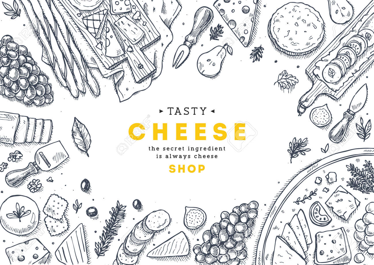 Cheese collection top view illustration. Antipasto table background. Engraved style illustration. Hero image. Vector illustration - 87880424