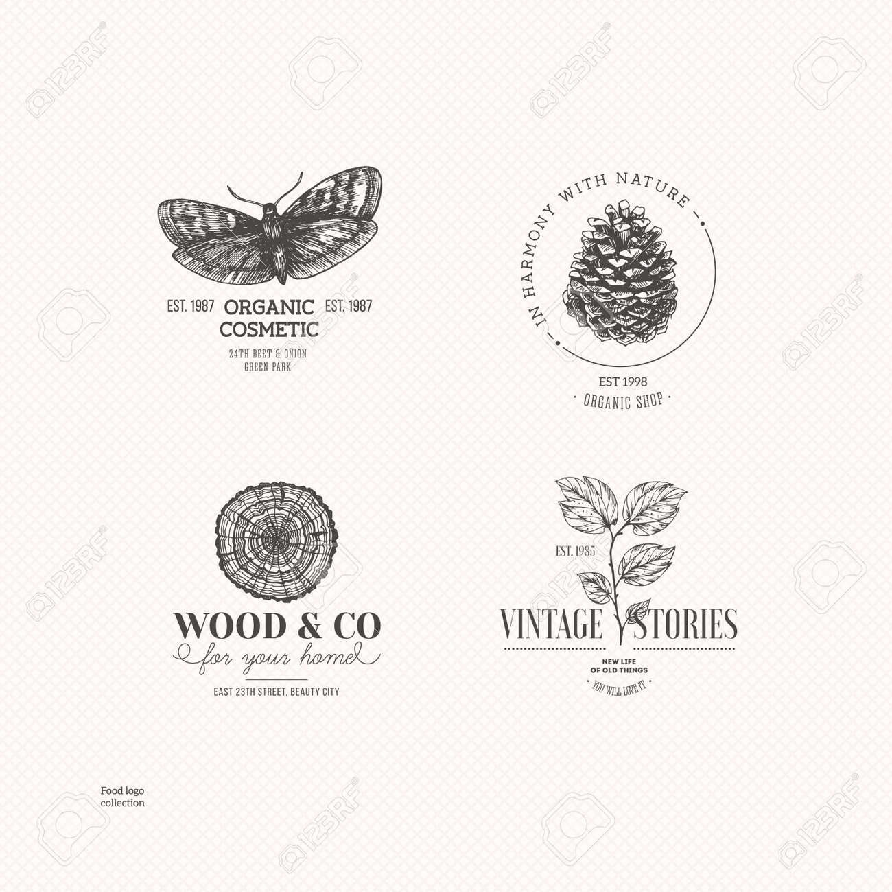 Vintage nature logo collection. Engraved logo set. Vector illustration - 87880426