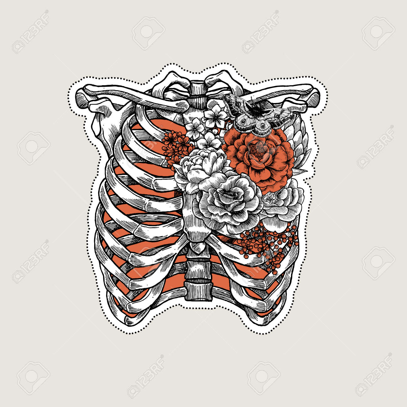 Ilustración De Tatuaje Anatomía Vintage. Rosas En El Esqueleto De La ...