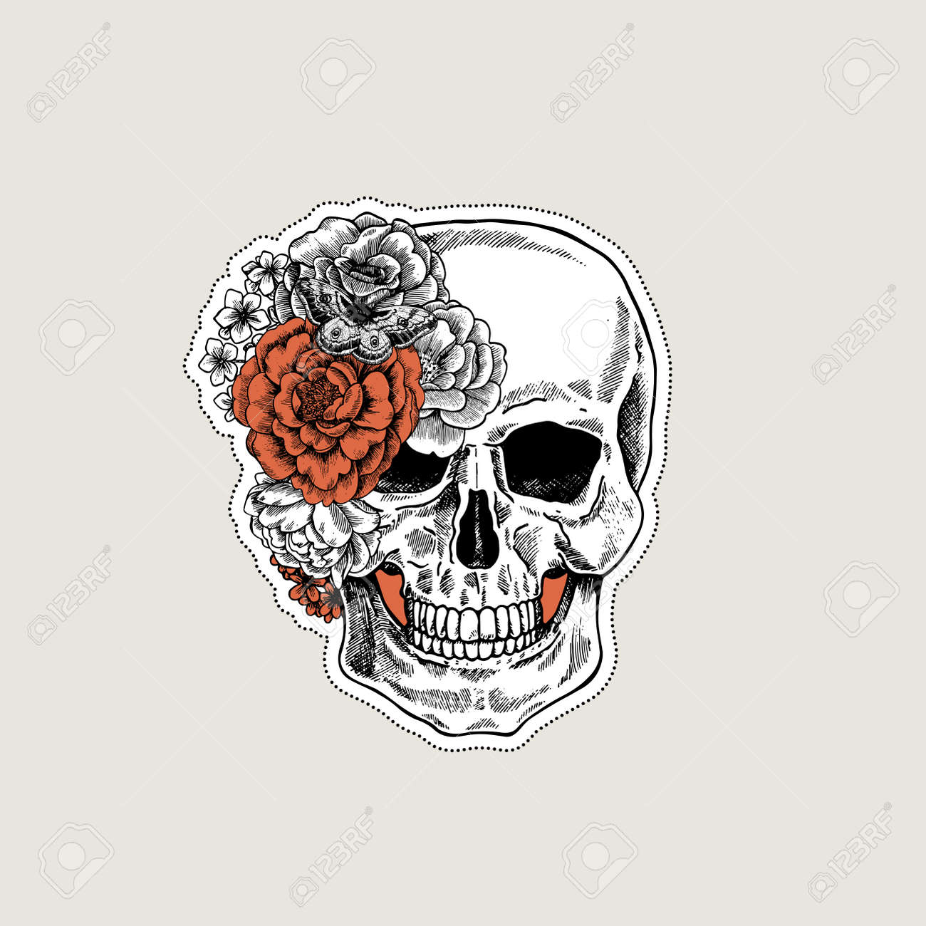 Floral Human Skull Tattoo Anatomy Vintage Illustration Vector