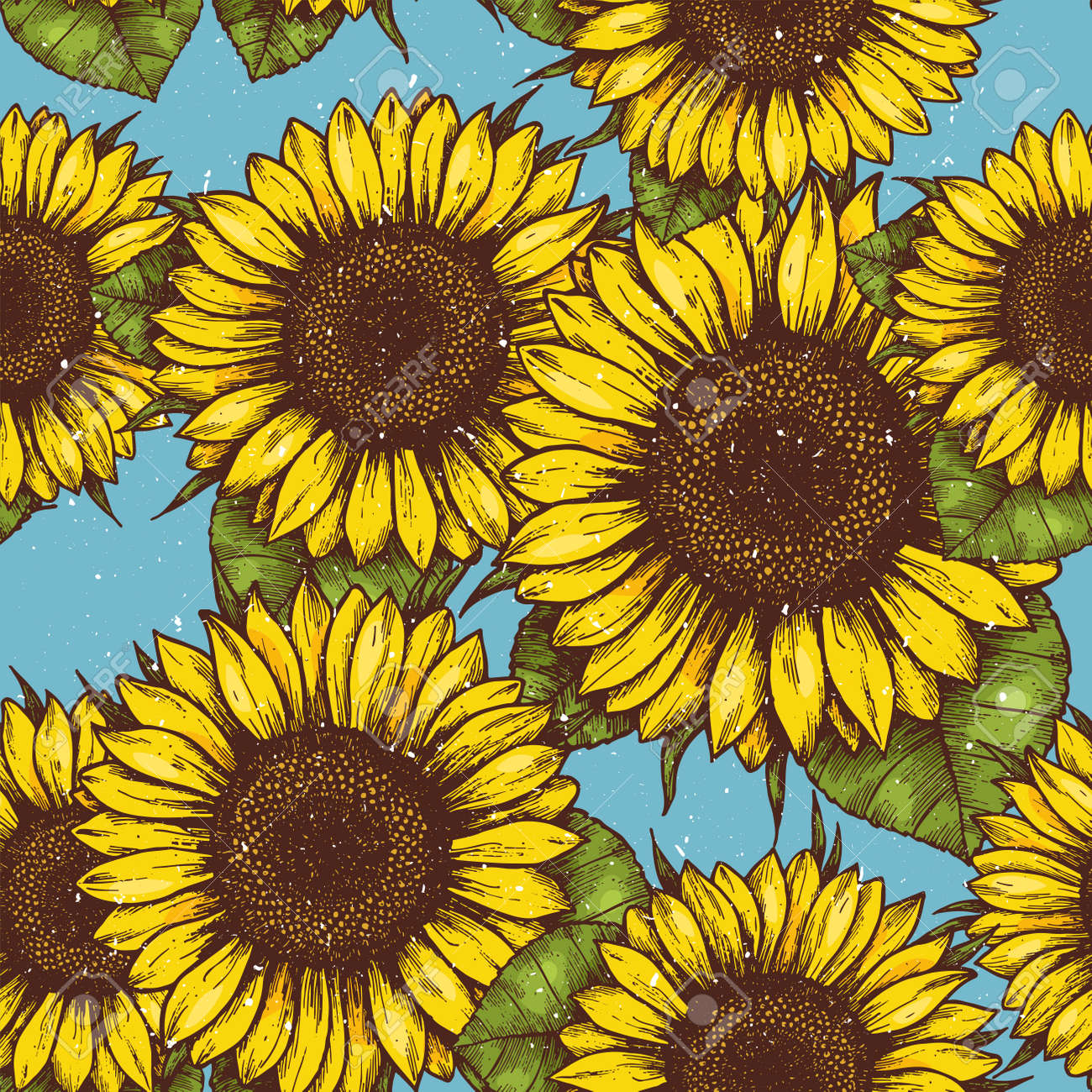 Sunflower Vintage Seamless Pattern Retro Background Vector Illustration Stock