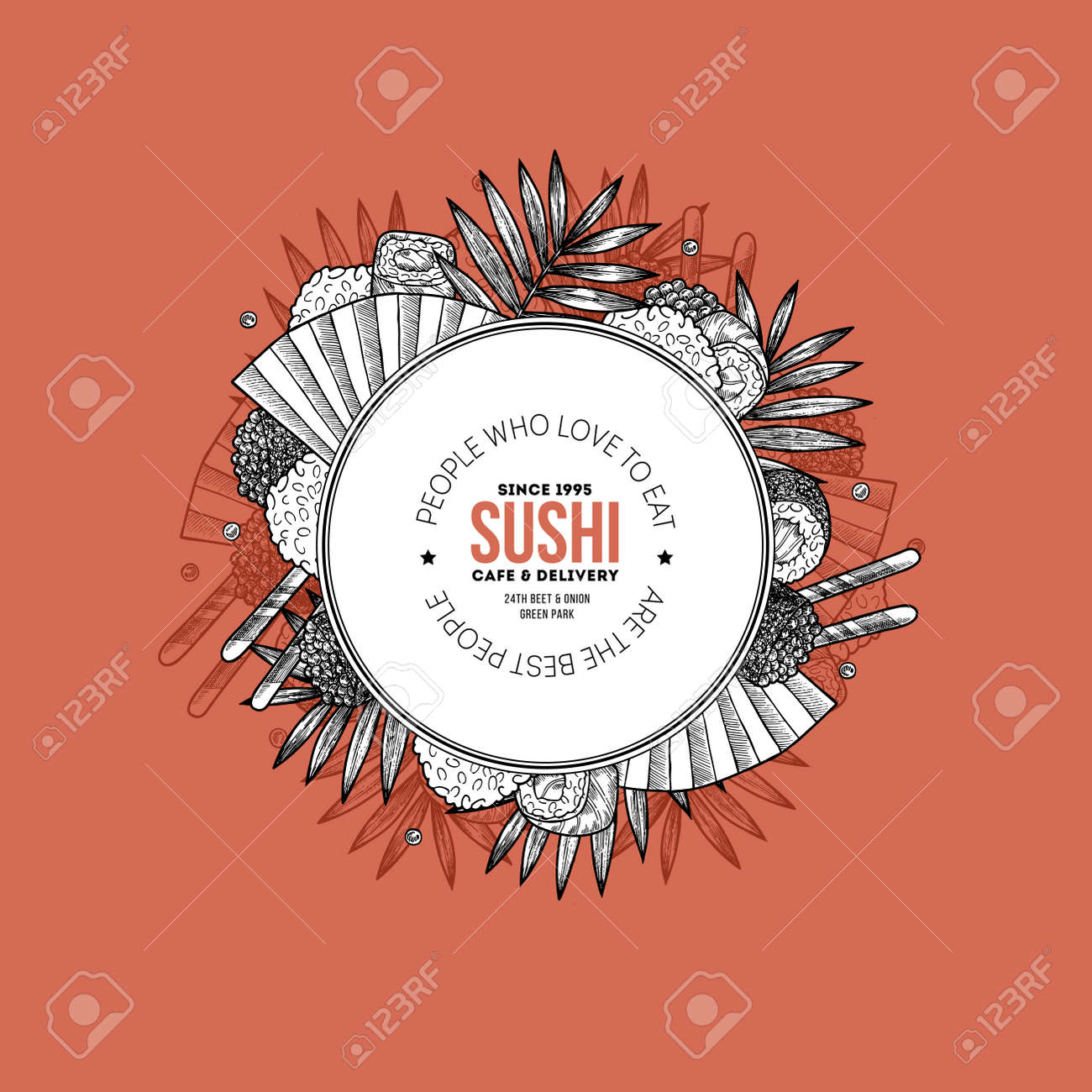 Asian Food Design Template Sushi Restaurant Menu Round Composition