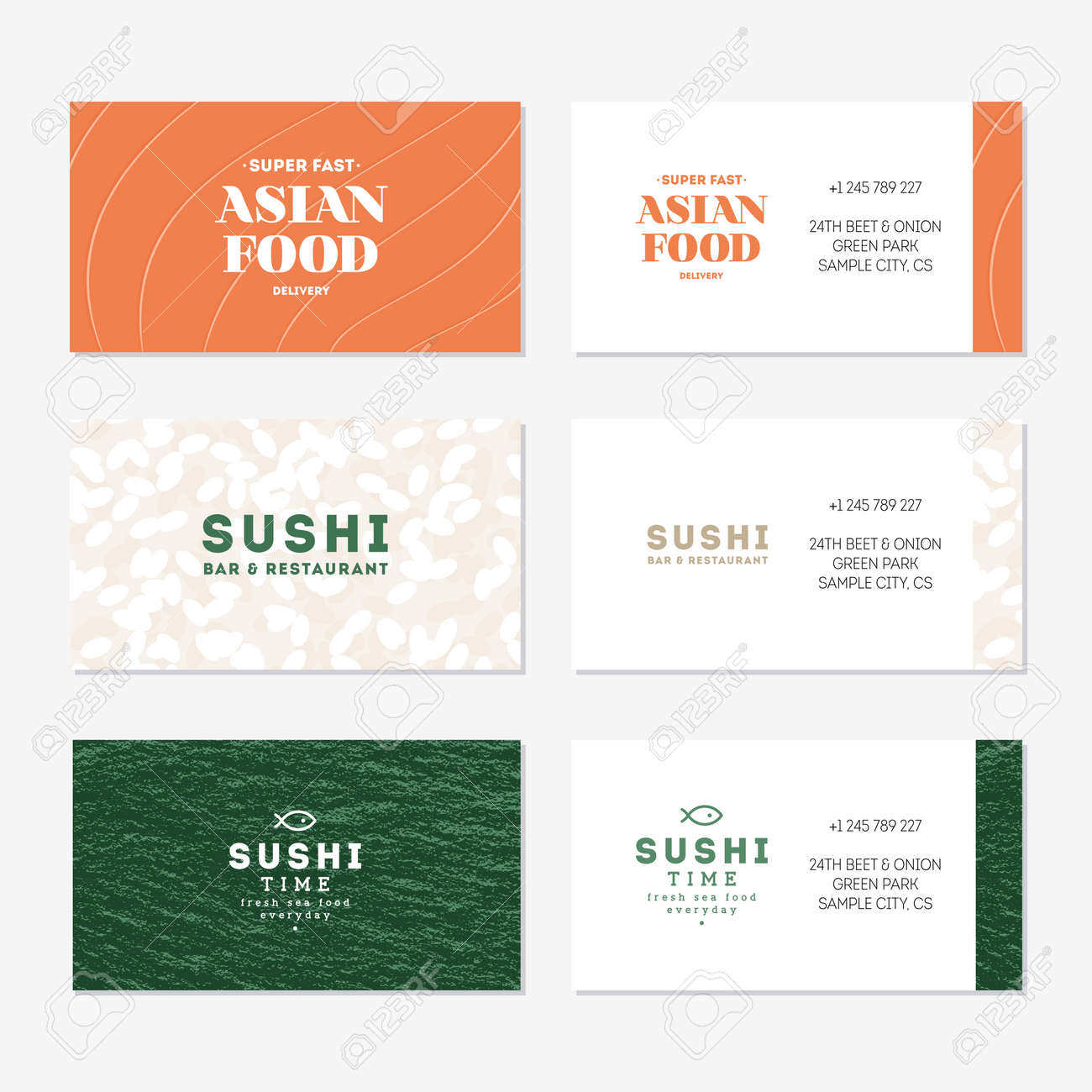 Sushi Business Card Collection. Set Of Asian Food Identity Cards ...