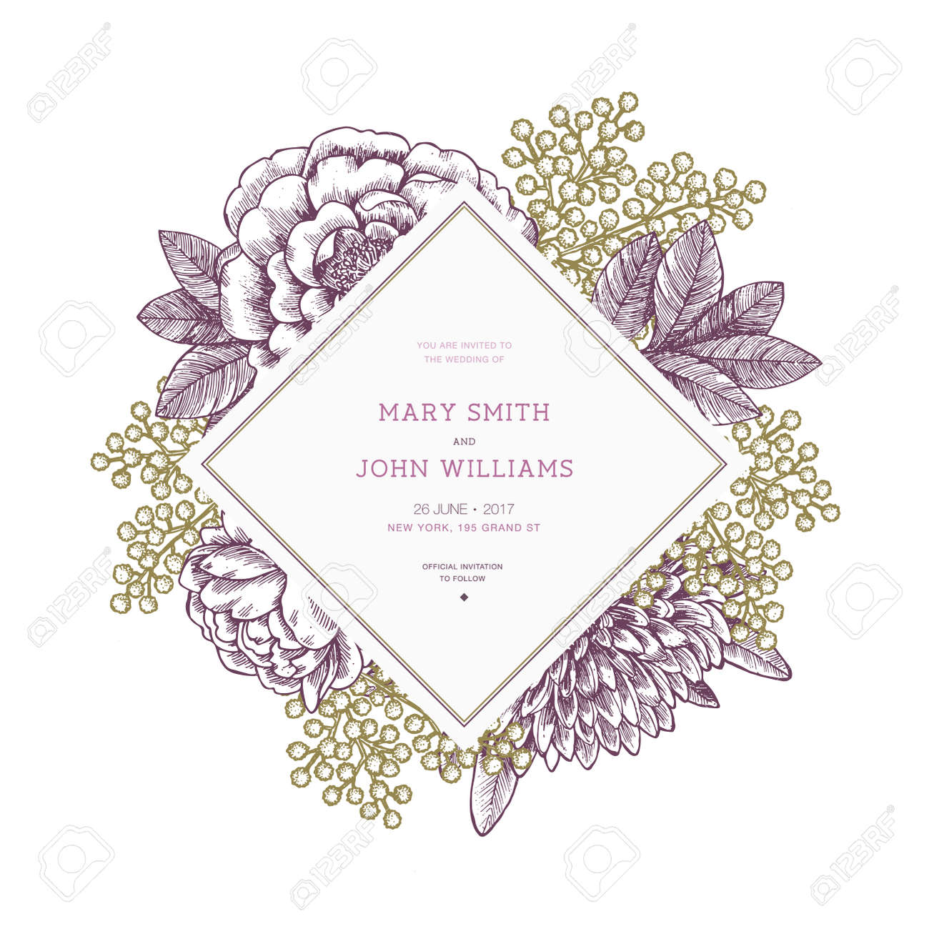 Floral Wedding Invitation Template. Vintage Flower Greeting Card ...