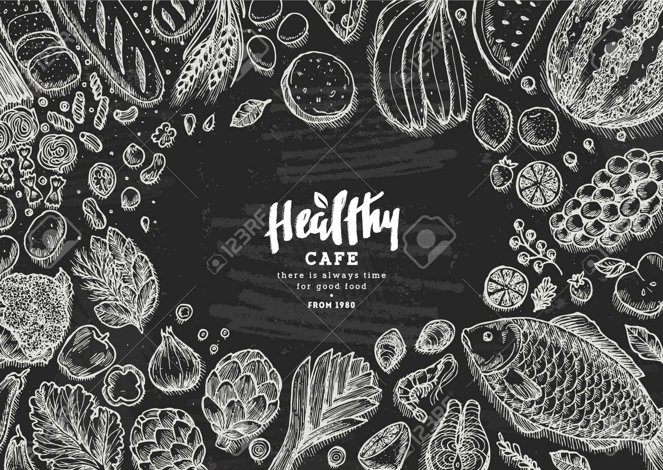 healthy food collection good nutrition chalkboard table background