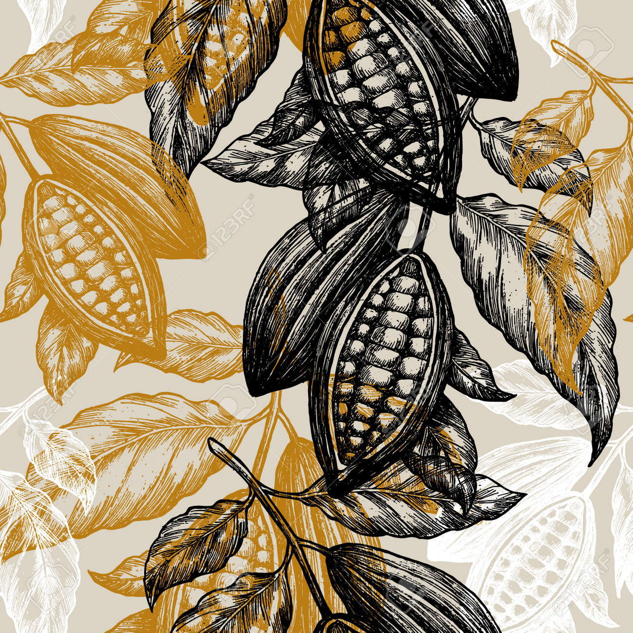 Cocoa Beans Seamless Pattern Cocoa Tree Illustration Engraved Royalty Free Cliparts Vectors And Stock Illustration Image 88551526