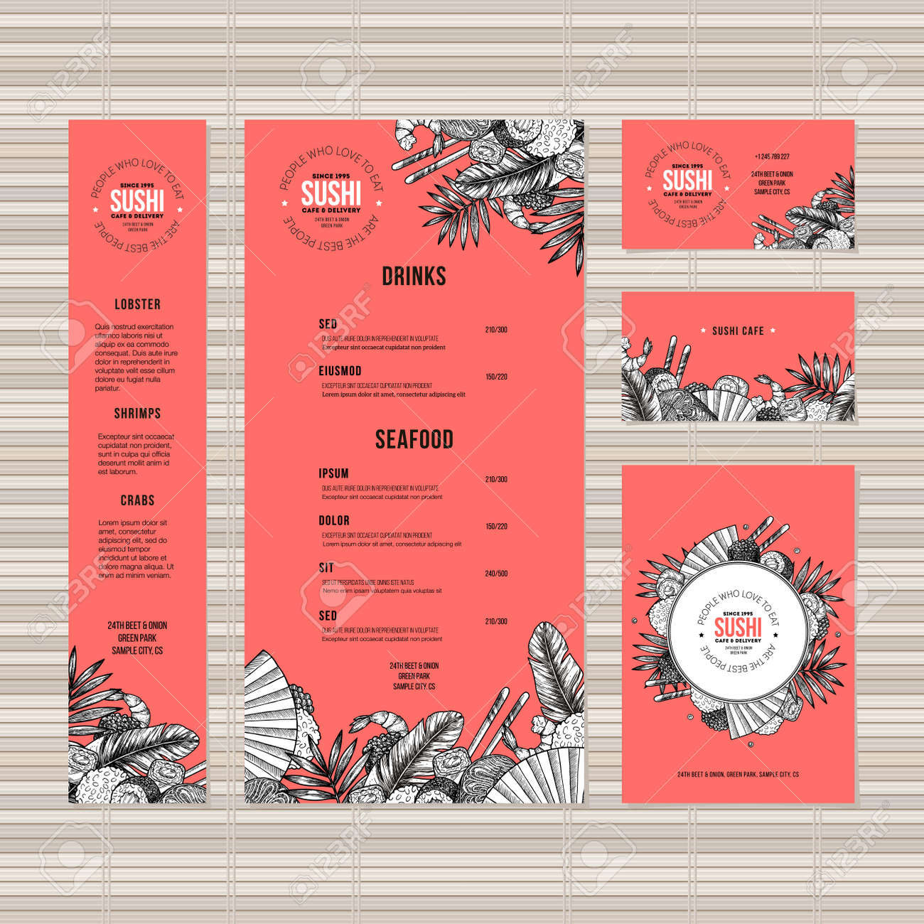 Sushi Menu Template Asian Food Restaurant Identity Engraved