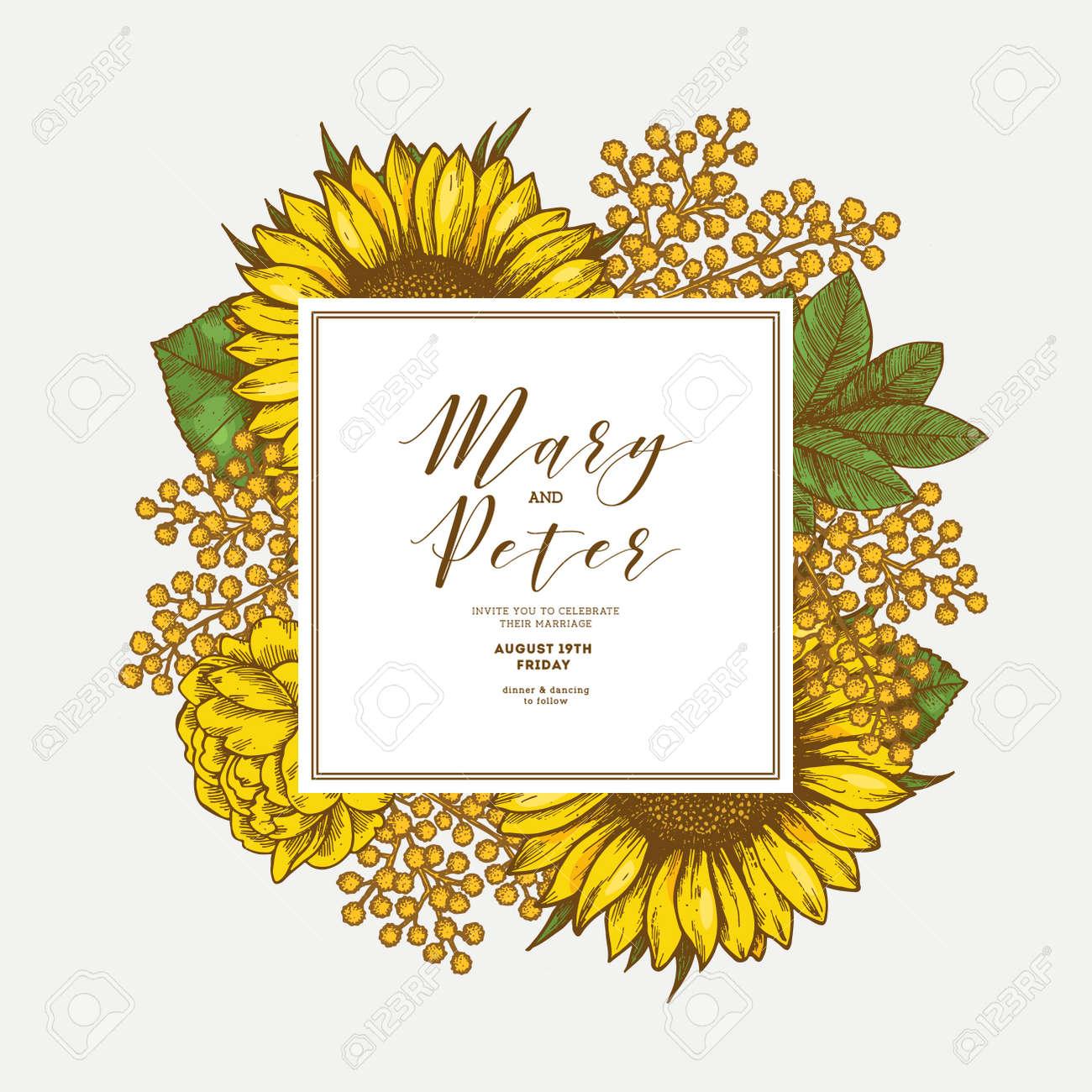 sunflower vintage wedding invitation yellow flowers card design