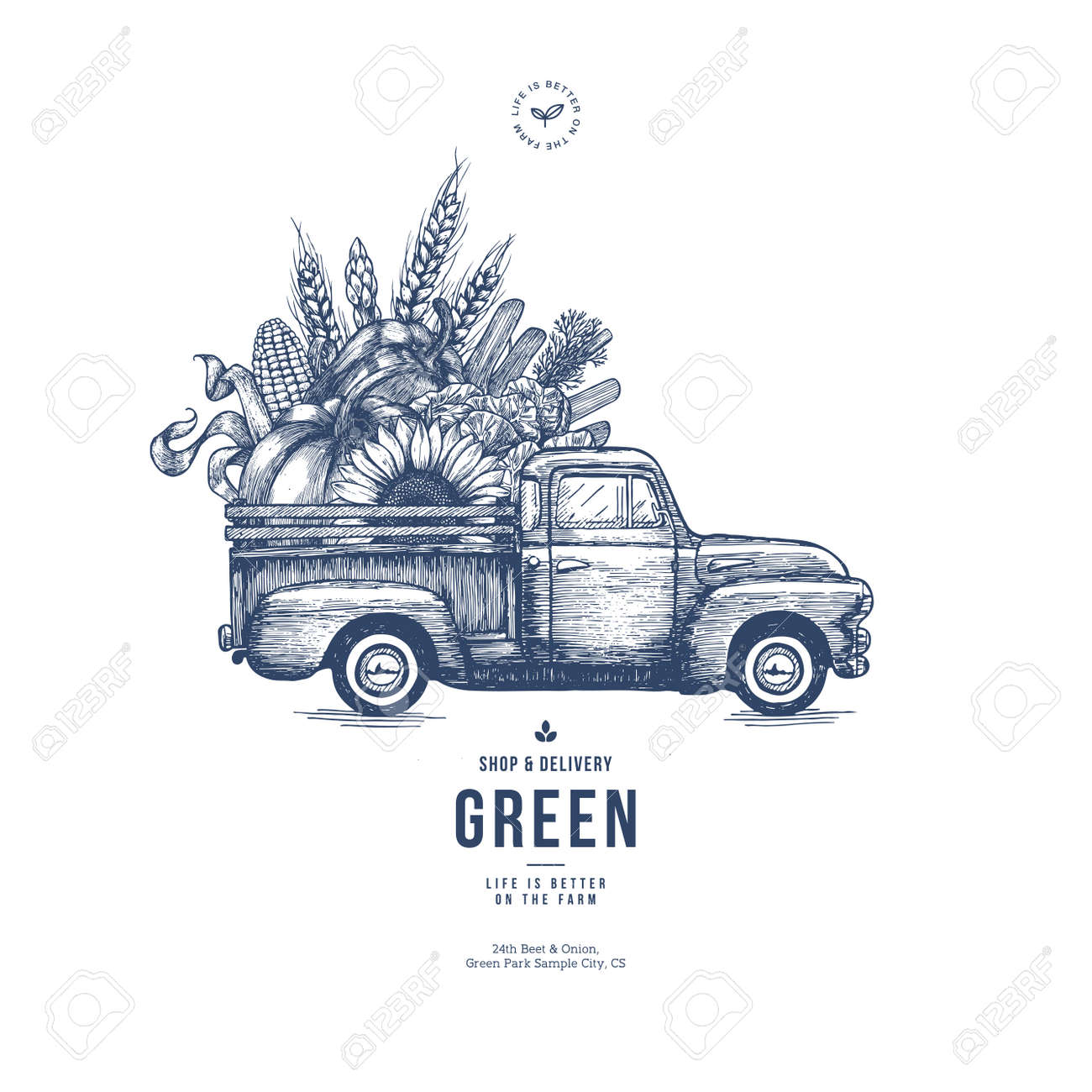 Farm fresh delivery design template. Classic vintage pickup truck with organic vegetables. Vector illustration - 89760937