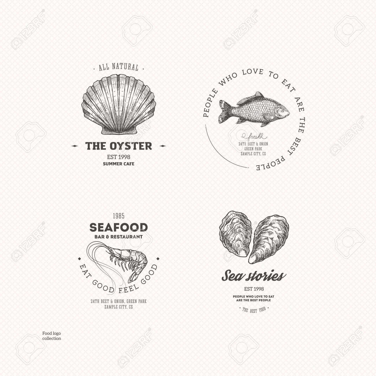 Vintage seafood logo collection. Engraved logo set. Vector illustration - 95133648