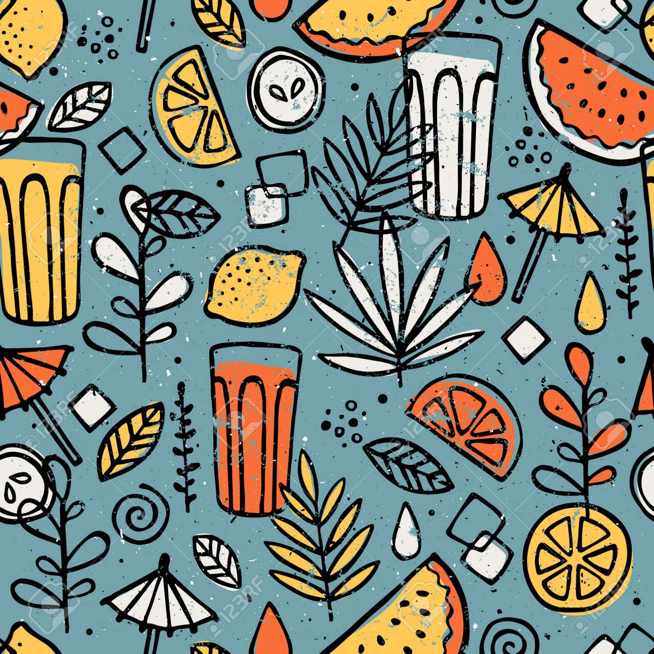 Fresh lemonade seamless pattern. Fun drinks background. Vector illustration. - 95125779
